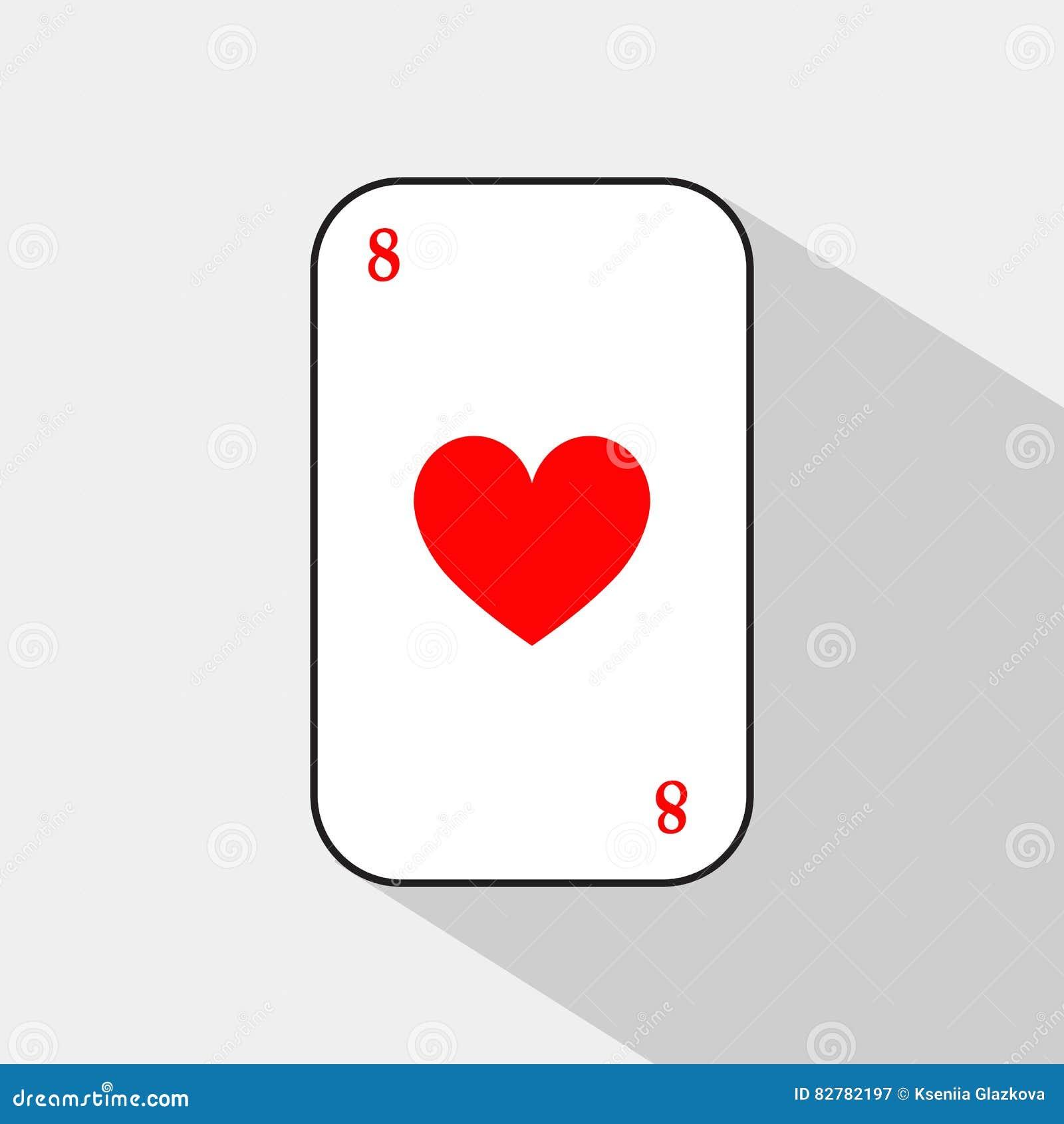 Tarjeta del póker CORAZÓN ocho fondo blanco a ser fácilmente separable