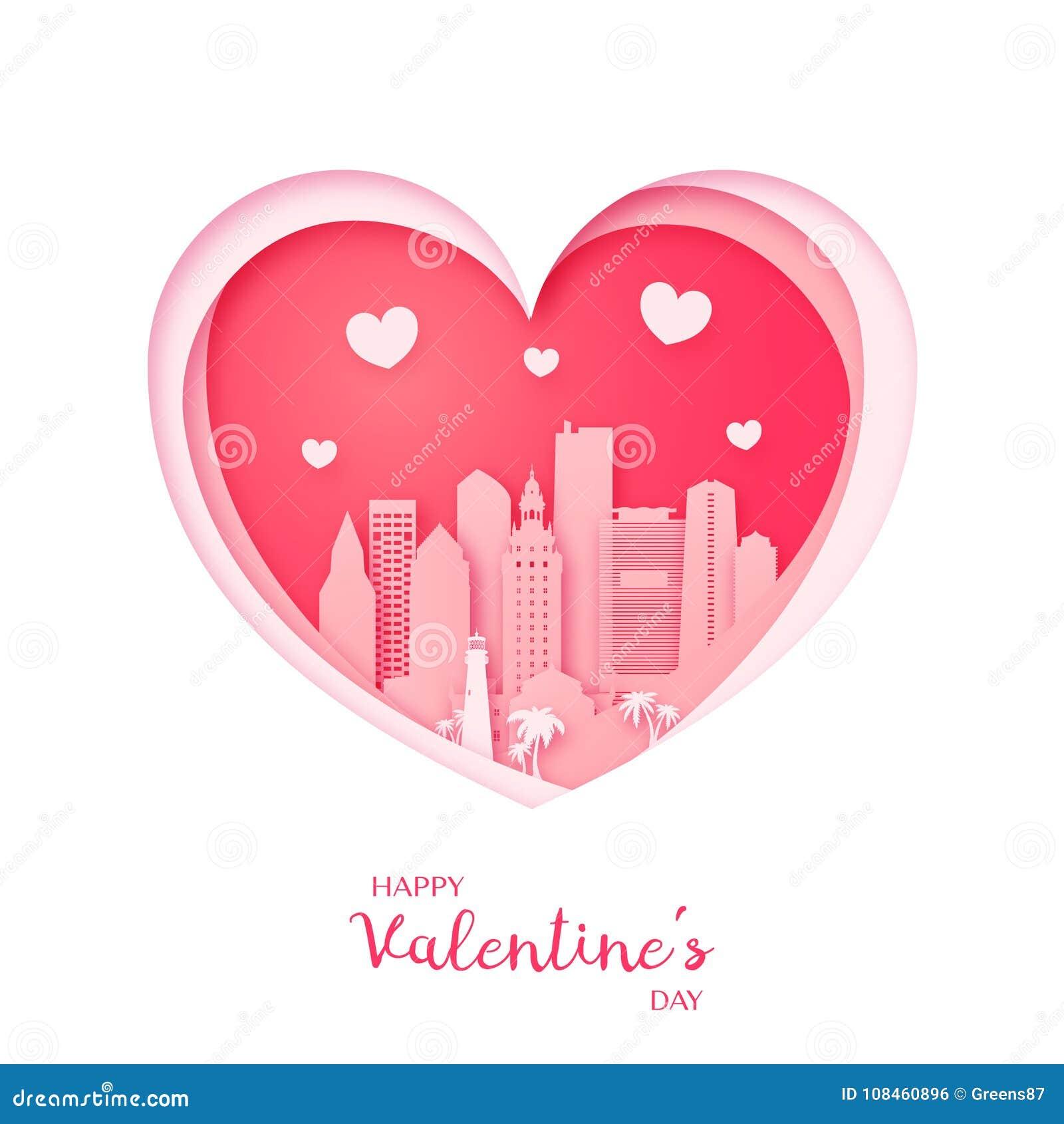 Tarjeta del `s de la tarjeta del día de San Valentín Corazón del corte del papel y ciudad de Miami