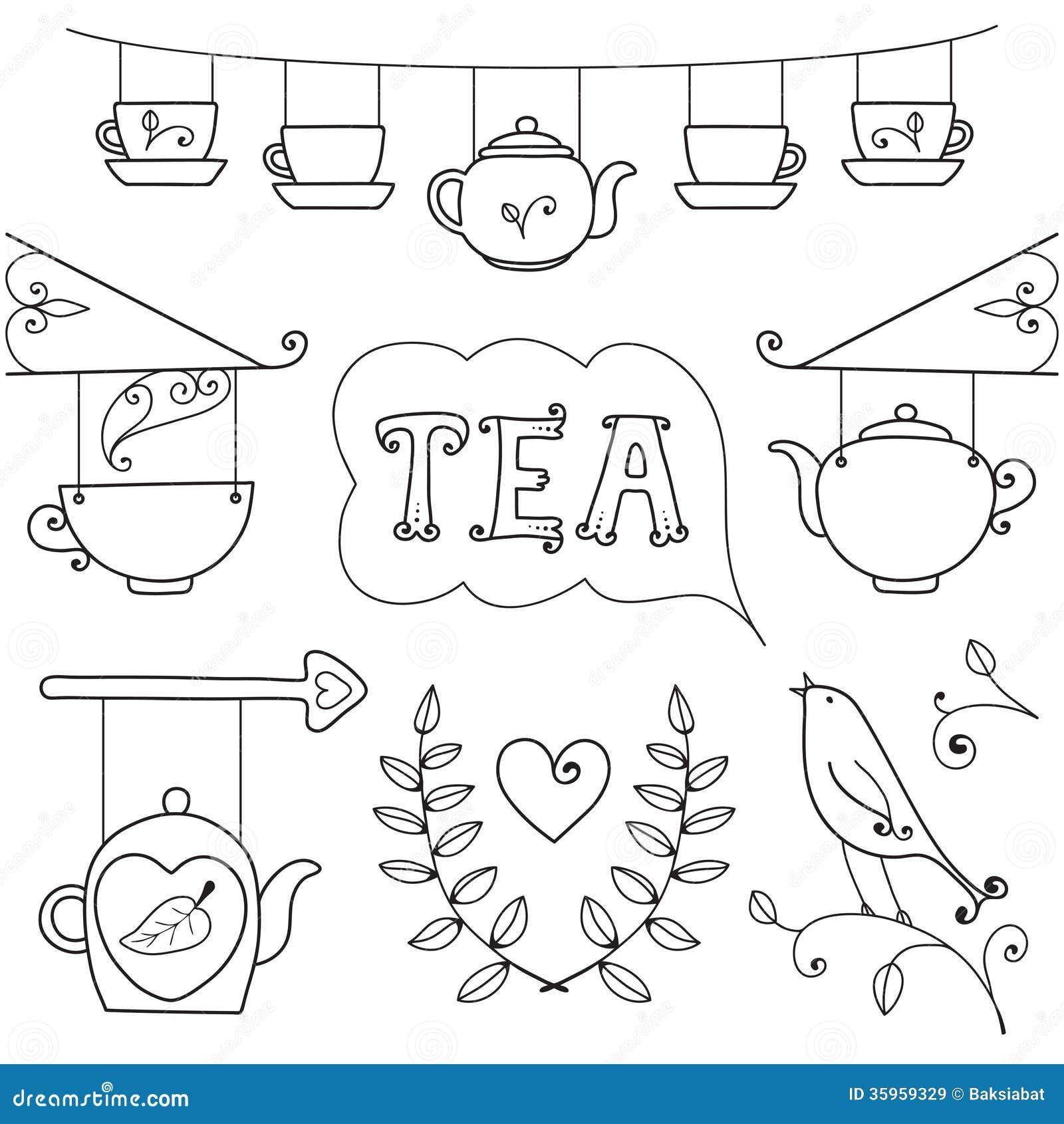 Tarjeta del té. Sistema de los elementos para el diseño.