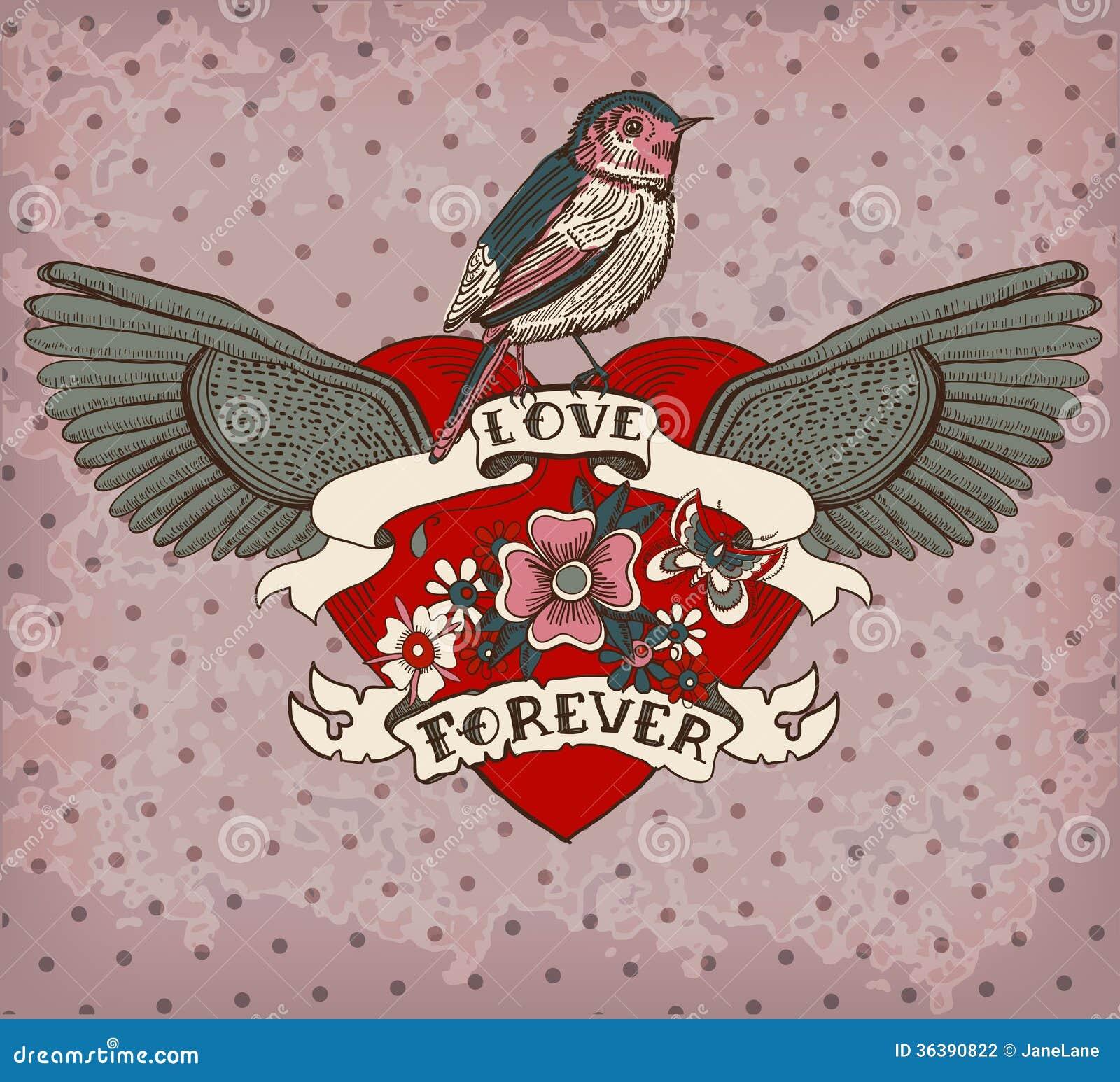 Tarjeta del tatuaje del estilo de la Viejo-escuela con el pájaro, las flores y la cinta, Vint