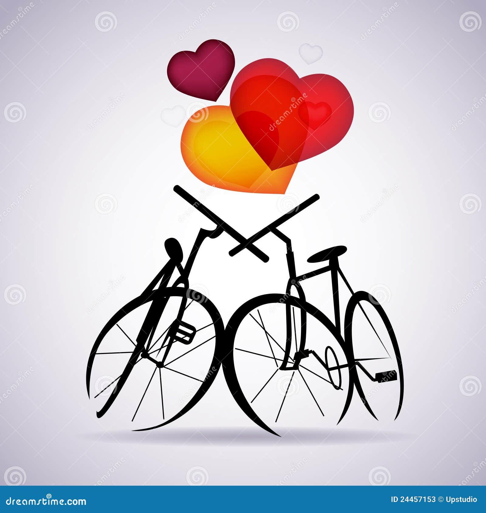 6e8b1fd4012ce Vector la tarjeta de la tarjeta del día de San Valentín con dos bicicletas