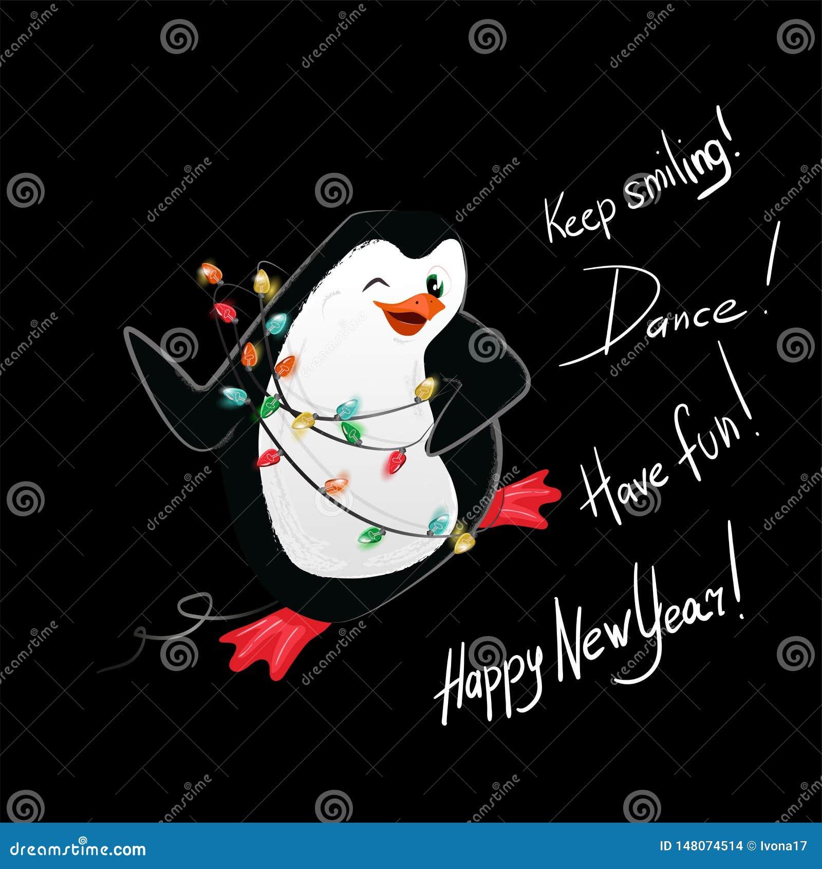 Tarjeta del vector de la danza del pingüino de la Feliz Año Nuevo