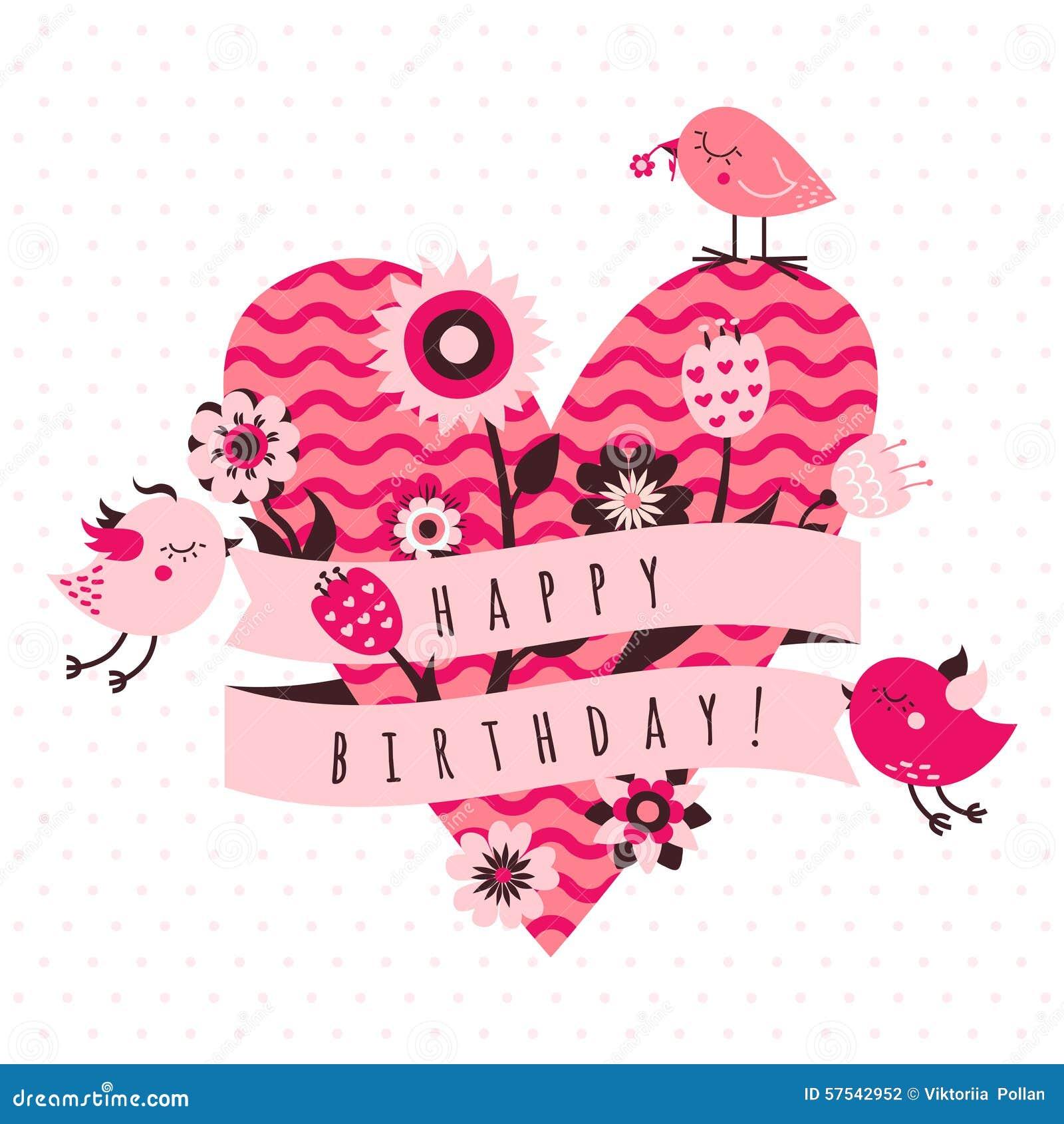 Tarjeta Del Color De Rosa Del Feliz Cumpleaños. Ilustración del ...