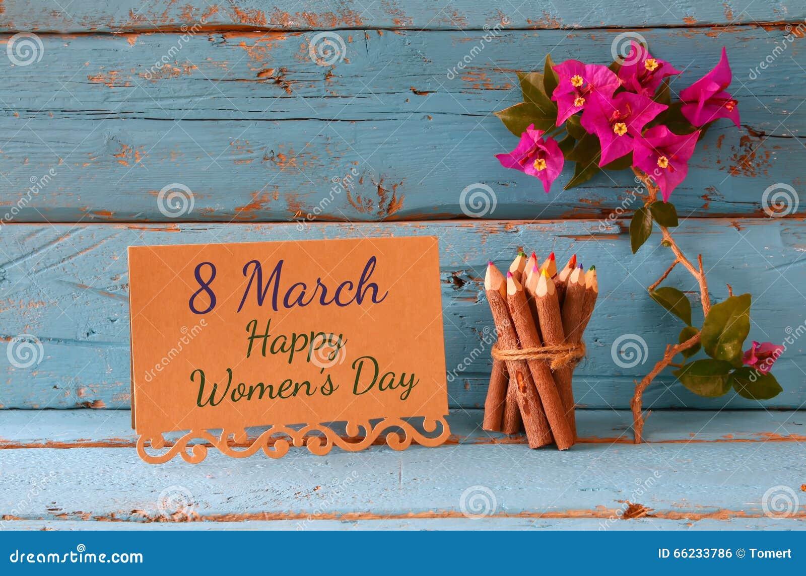 Tarjeta Del Vintage Con Frase Día Para Mujer Feliz Del 8 De