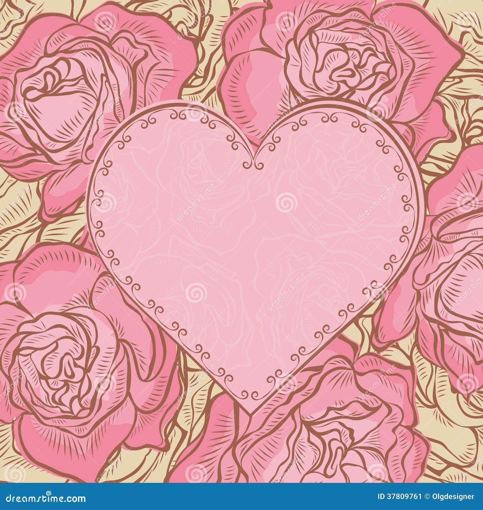 Tarjeta Del Vintage Con Las Rosas Y El Marco Del Corazón Ilustración ...