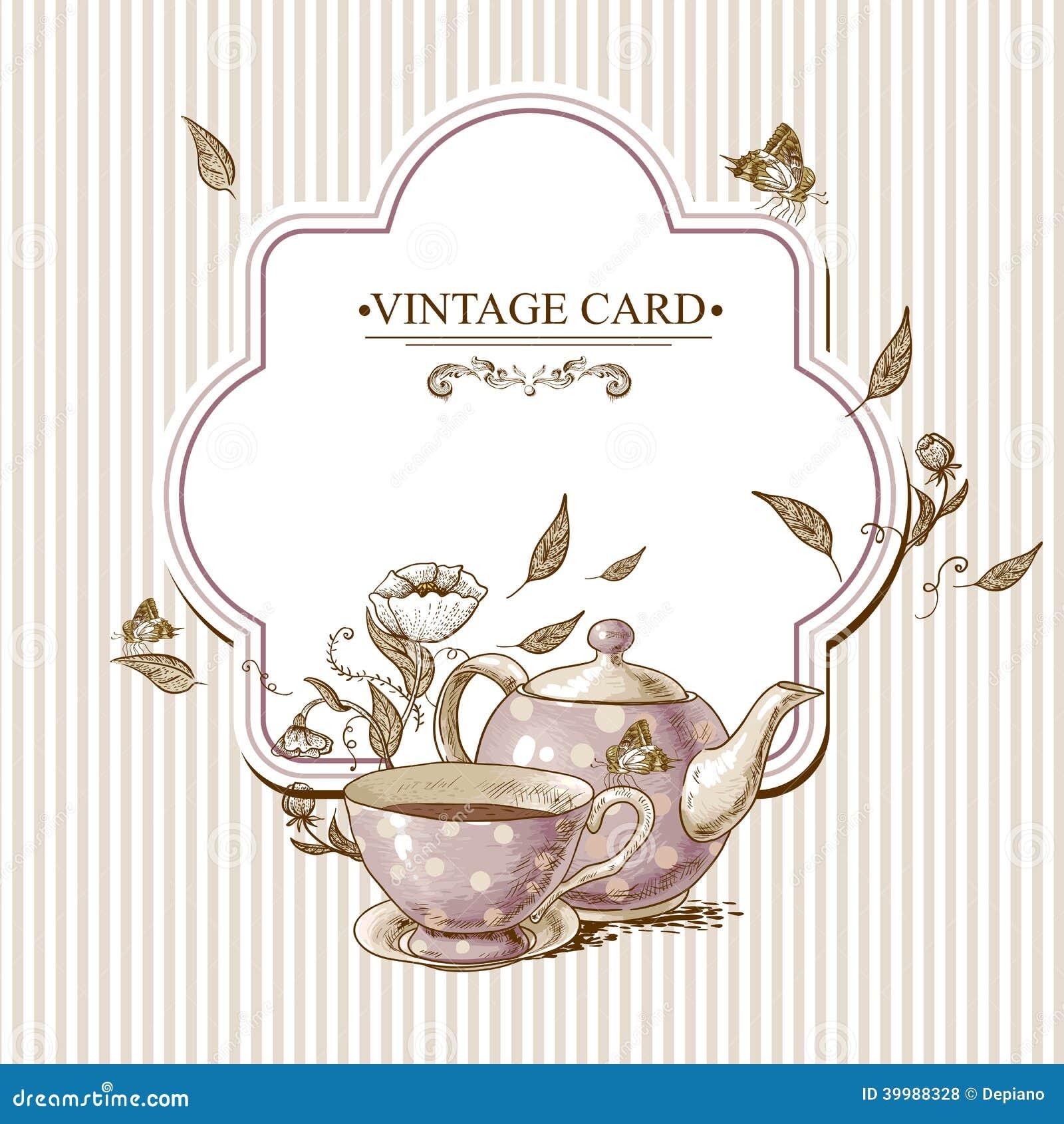 Tarjeta del vintage de la invitaci n con la taza el pote for Tazas de te estilo vintage