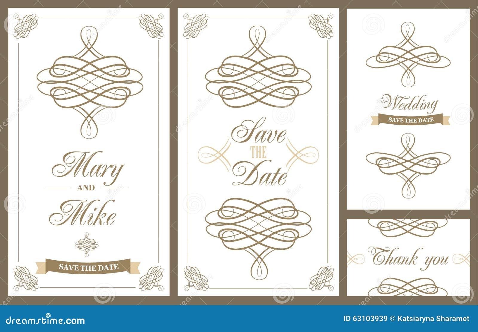 Tarjeta del vintage de la invitación de la boda con los elementos decorativos florales y antiguos