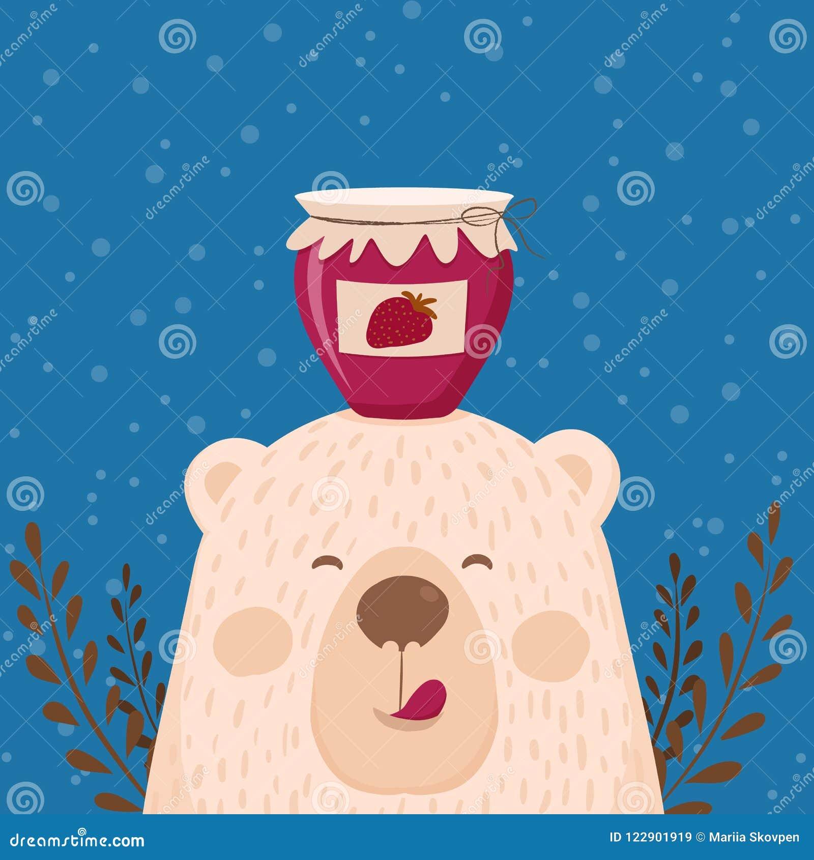Tarjeta dibujada mano retra linda como oso divertido con el atasco del tarro Para los niños menú, vacaciones de invierno, cumplea