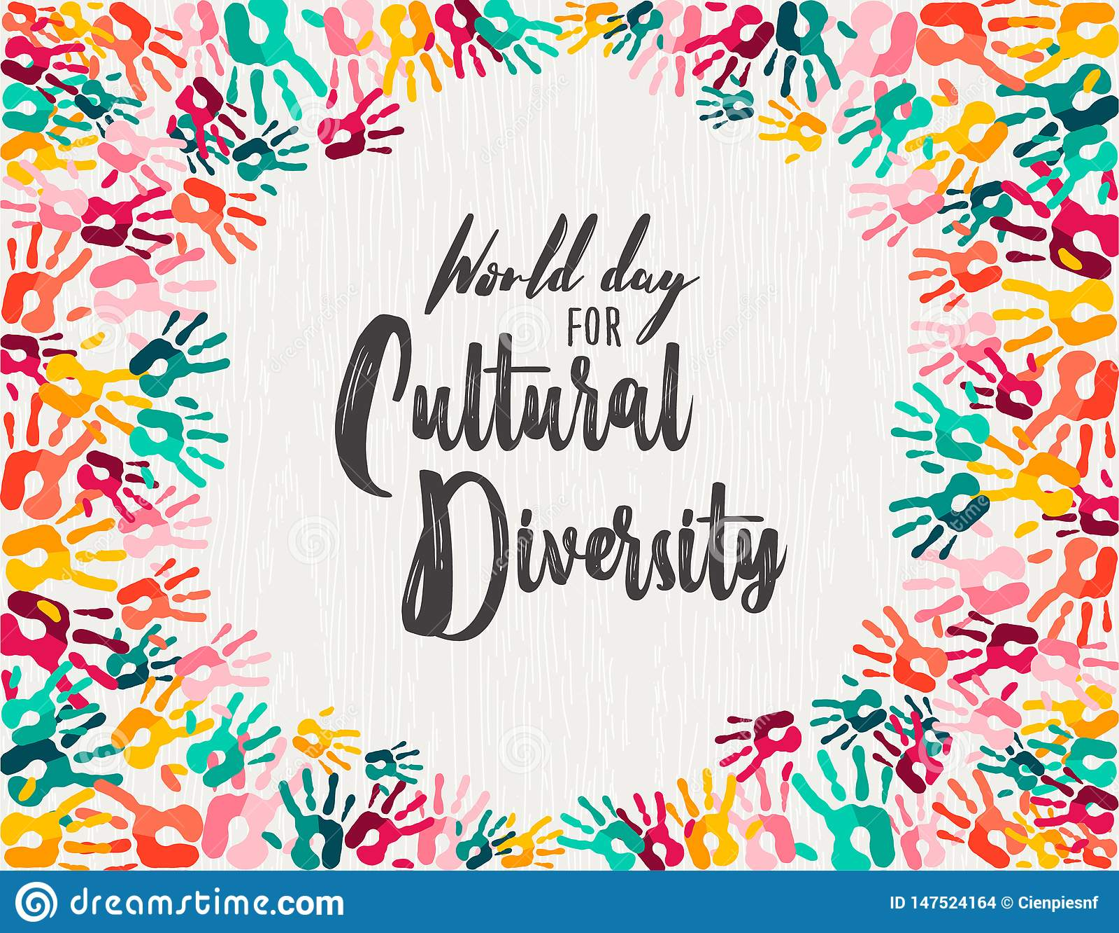 Tarjeta diversa de la impresión de la mano del día de la diversidad cultural