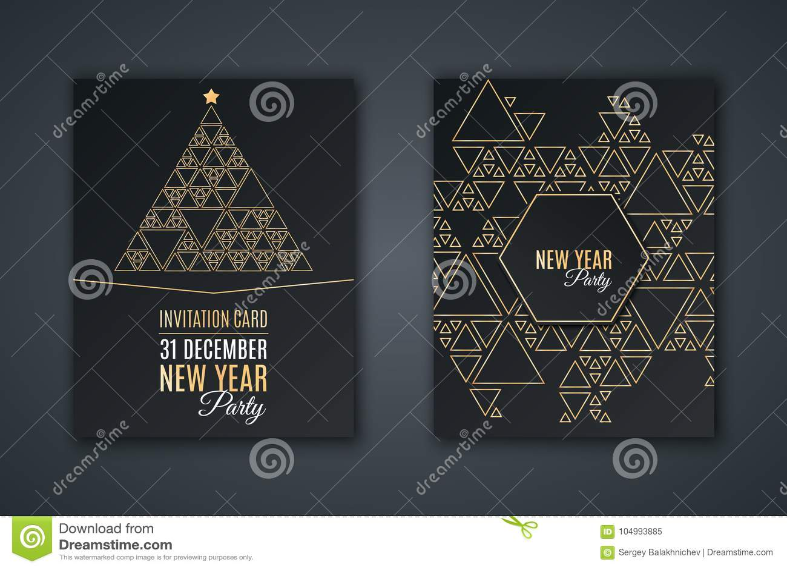 Tarjeta elegante de la invitación para el partido del ` s del Año Nuevo Modele el mosaico hecho de triángulos de oro en un fondo