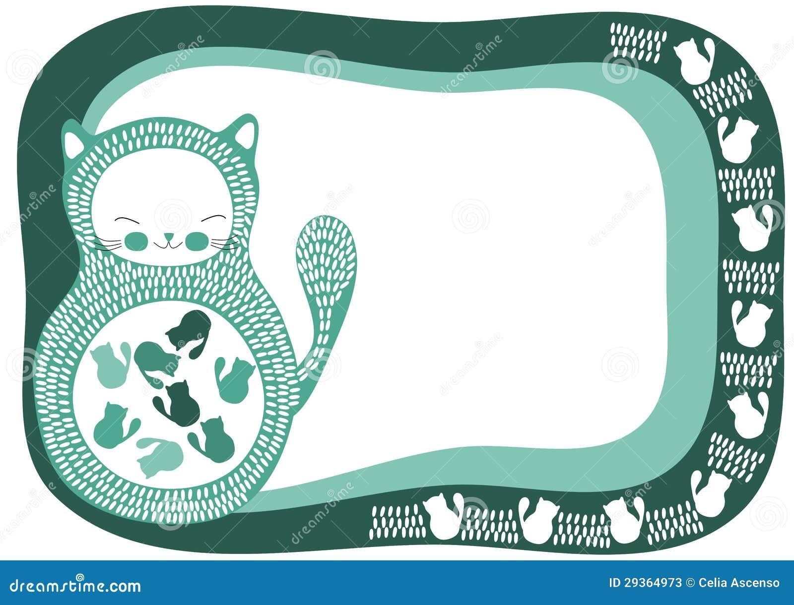 Tarjeta Embarazada De La Invitación Del Gato Stock De
