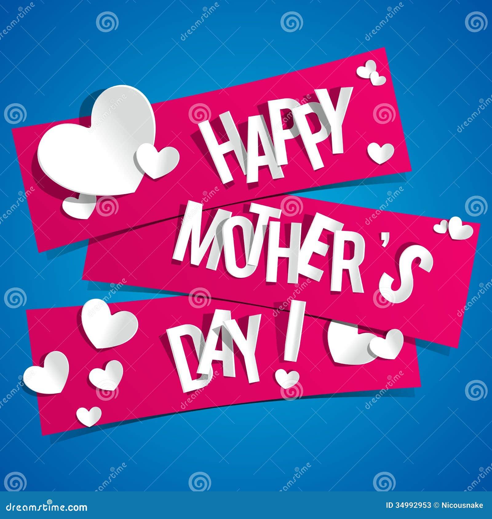 Tarjeta feliz creativa del día de madres con los corazones en costilla