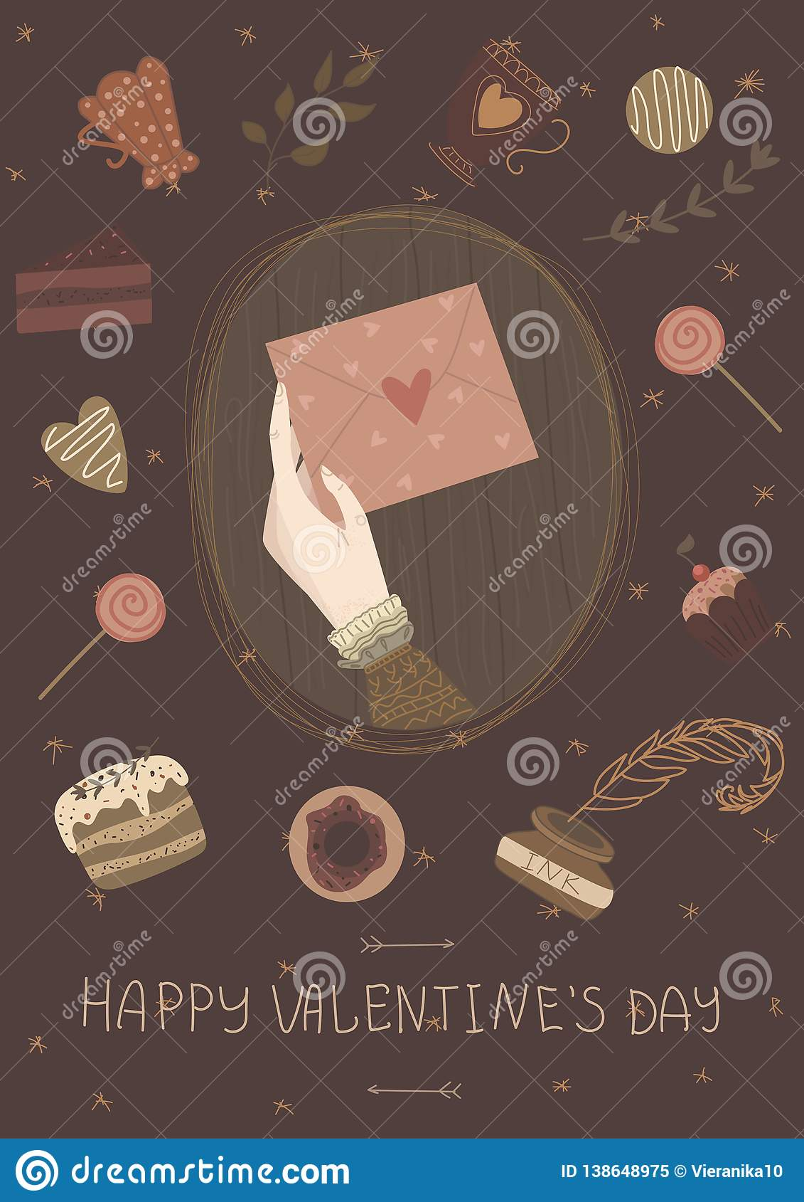 Tarjeta feliz de día de San Valentín, cartel lindo del vintage, bandera, invitación