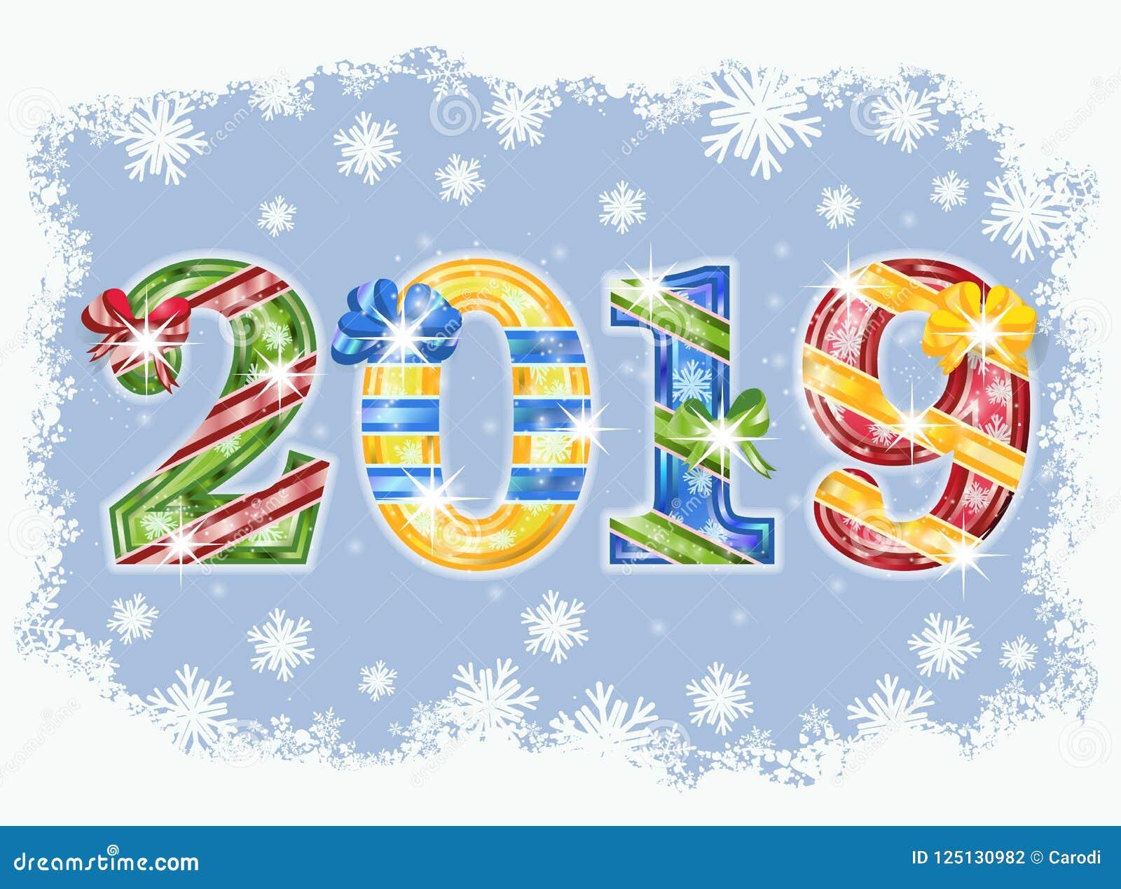 Tarjeta Feliz De La Invitación Del Año Nuevo 2019 Vector