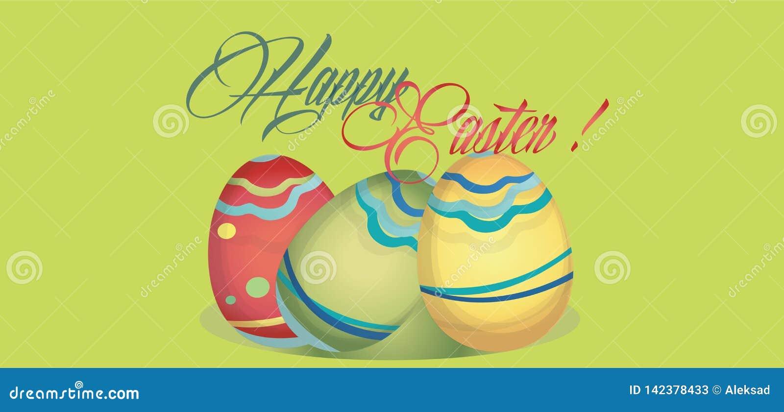 Tarjeta feliz del día de fiesta de Pascua con los huevos Bandera de la web con Pascua feliz