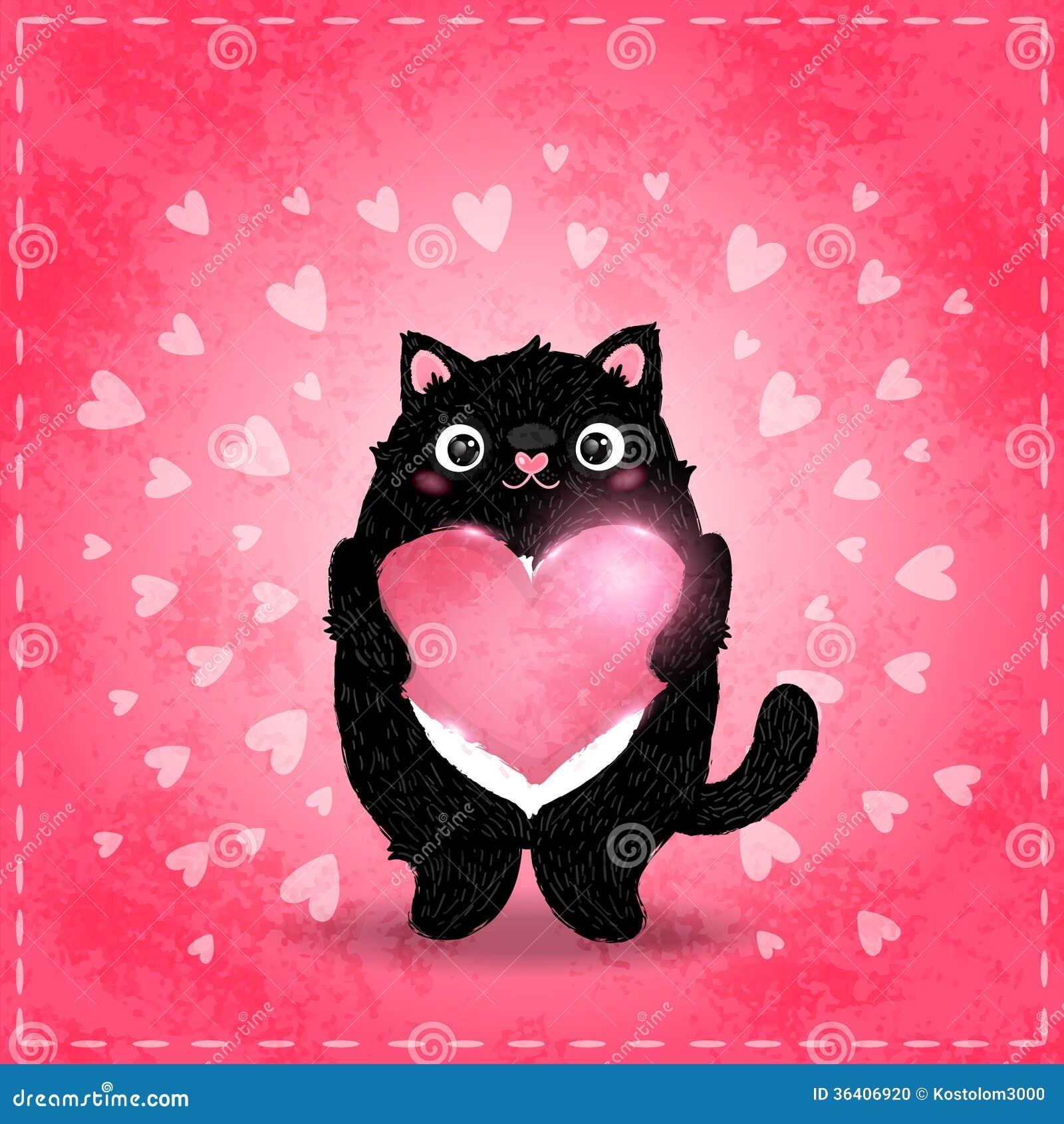 Tarjeta feliz del día de tarjetas del día de San Valentín con el gato y el corazón