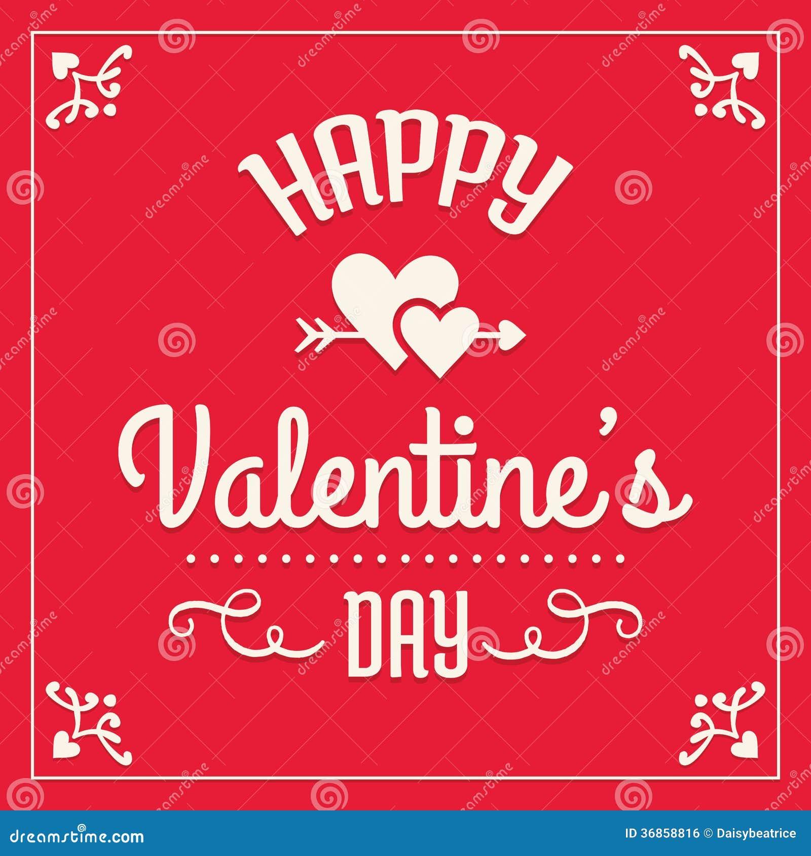 Tarjeta feliz del día de tarjetas del día de San Valentín en rojo y crema