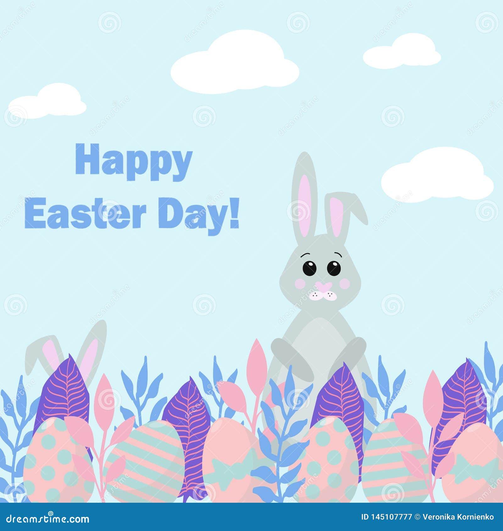 Tarjeta feliz del d?a de Pascua Ejemplo agradable del vector con los conejitos que cazan para los huevos