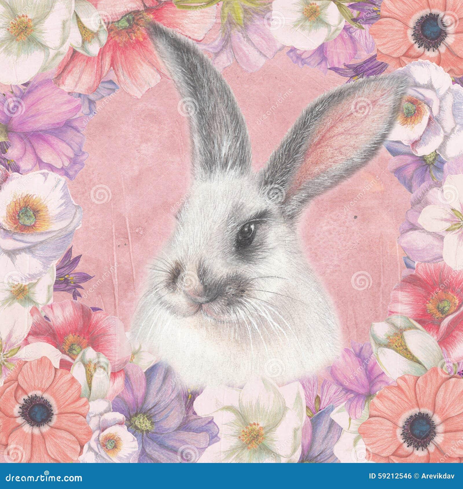 Tarjeta floral con el conejito mullido