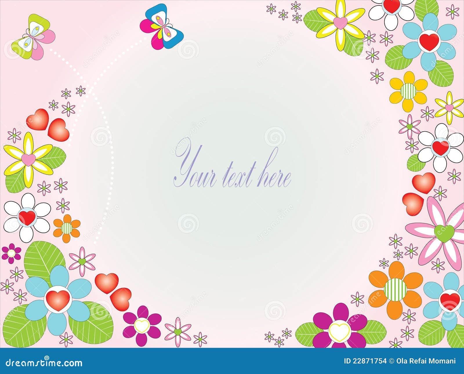 Tarjeta floral con las mariposas lindas