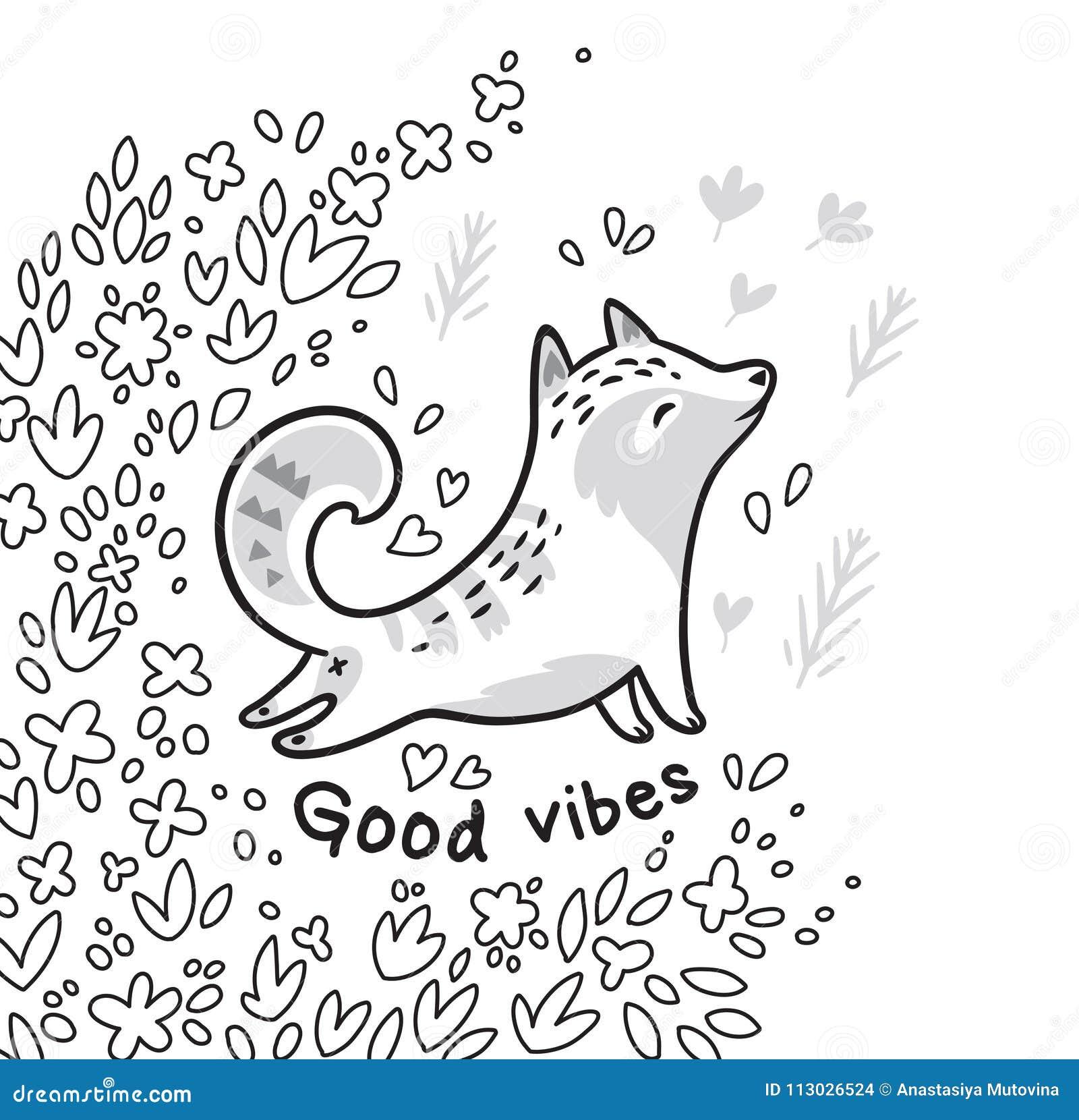 Tarjeta floral del contorno blanco y negro con el gato o el zorro en las hojas Buen texto de los ambientes