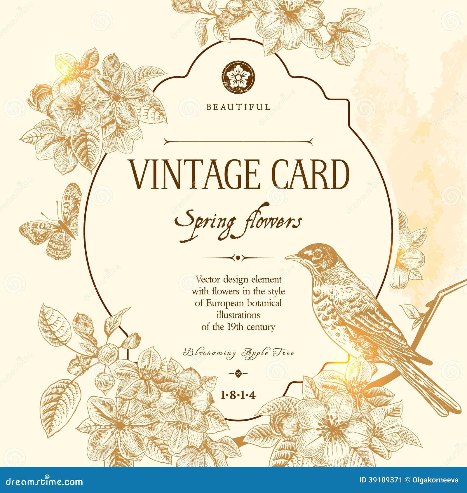 Tarjeta floral del vintage del vector de la primavera