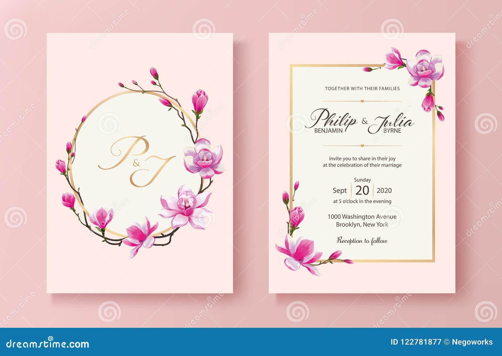 Tarjeta Floral Rosada De La Invitación De La Boda Vector