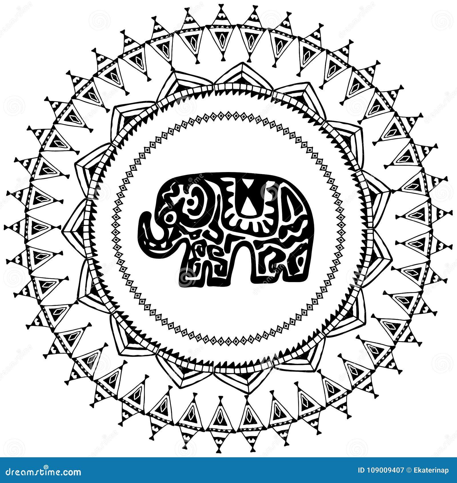 Tarjeta Hermosa Con El Indio Del Elefante Con Los Ornamentos Marco ...
