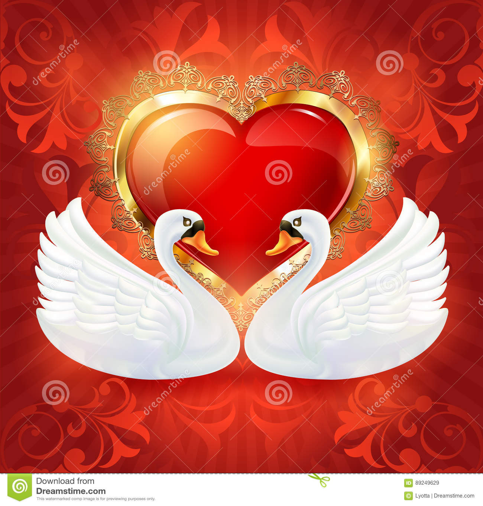 Tarjeta Hermosa De La Invitación De La Boda Con Un Corazón Y Cisnes