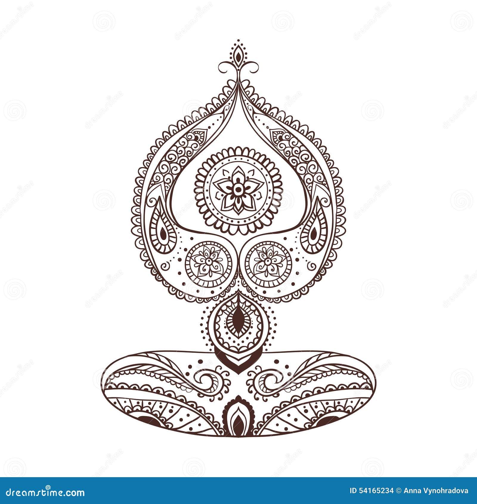 Tarjeta Hermosa Del Ornamento Con Yoga Del Vector Ilustracion Del