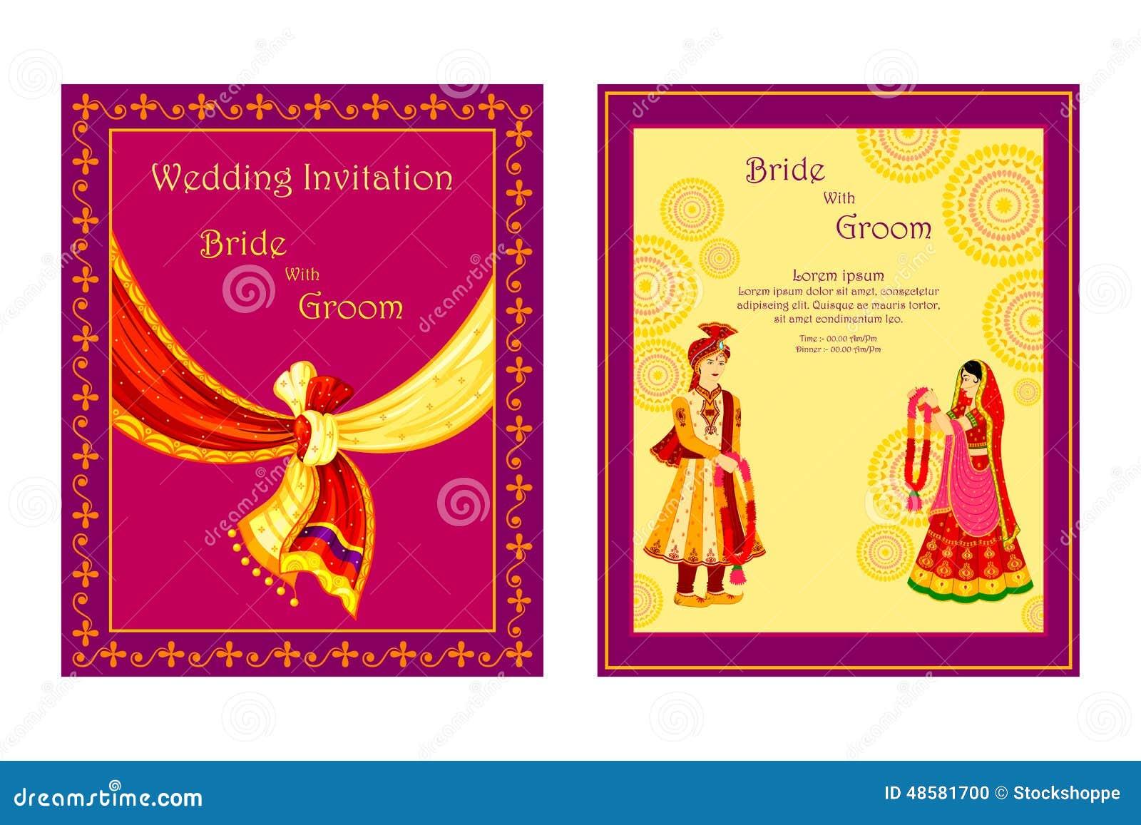 Tarjeta India De La Invitación De La Boda Ilustración del Vector ...