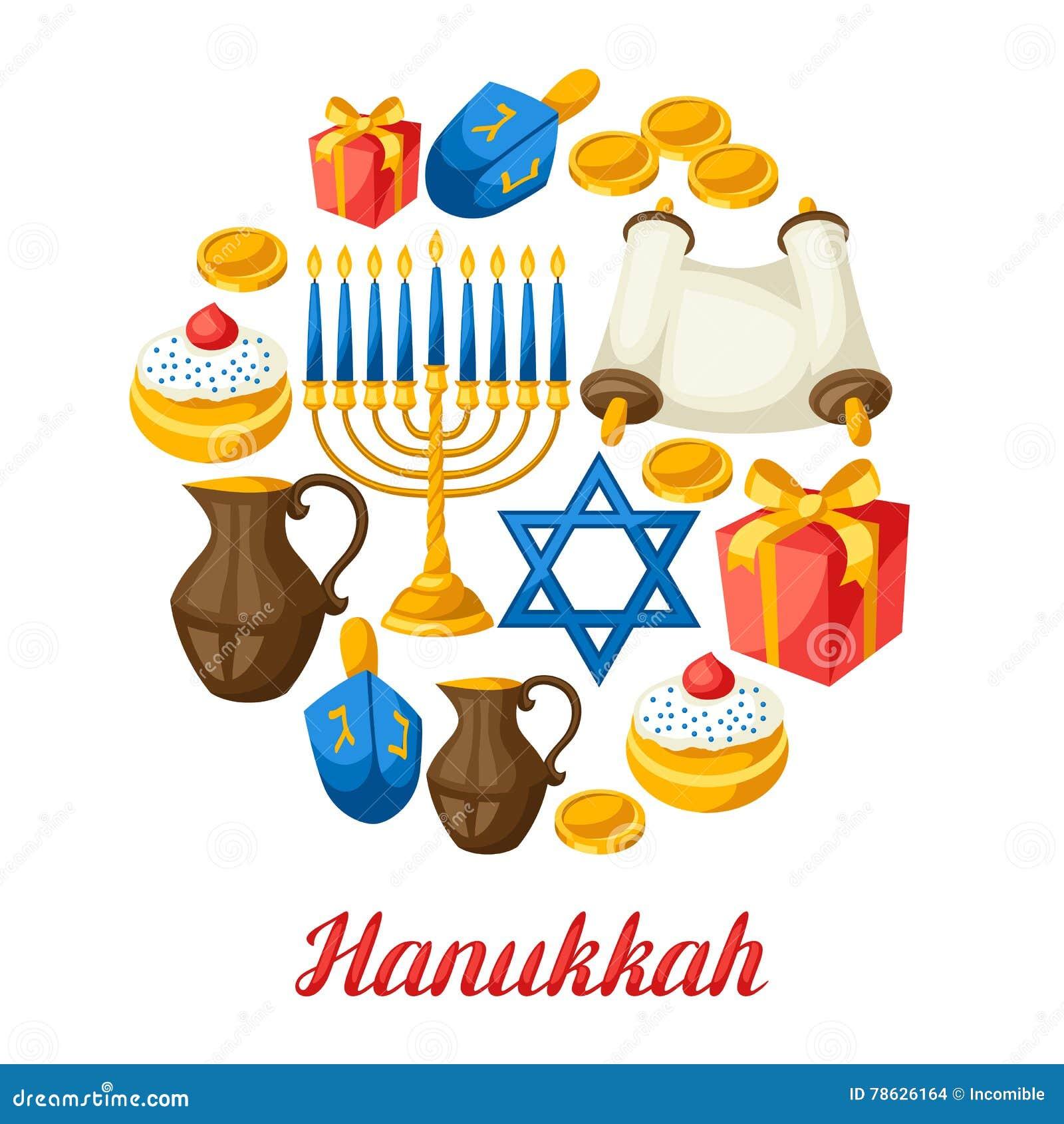 Tarjeta judía de la celebración de Jánuca con los objetos del día de fiesta