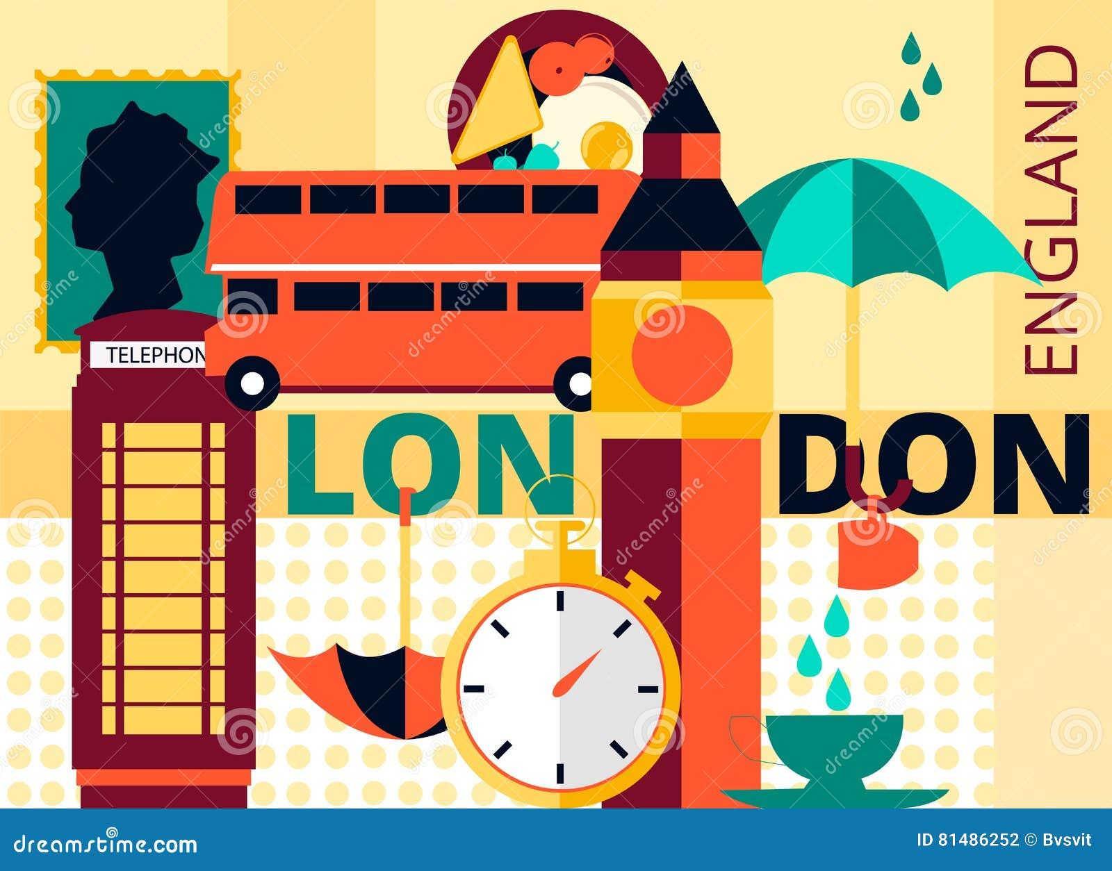 Tarjeta Moderna Plana De Londres Del Vector, La Capital De Gran ...