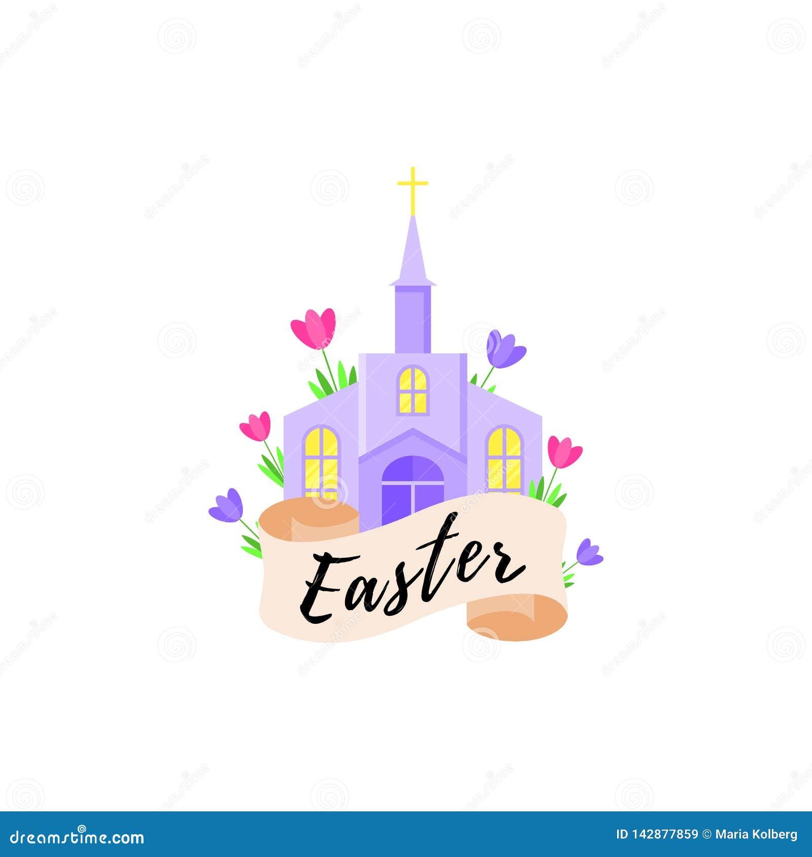 Tarjeta para el día de fiesta de Pascua con una iglesia y las flores Ilustración del vector
