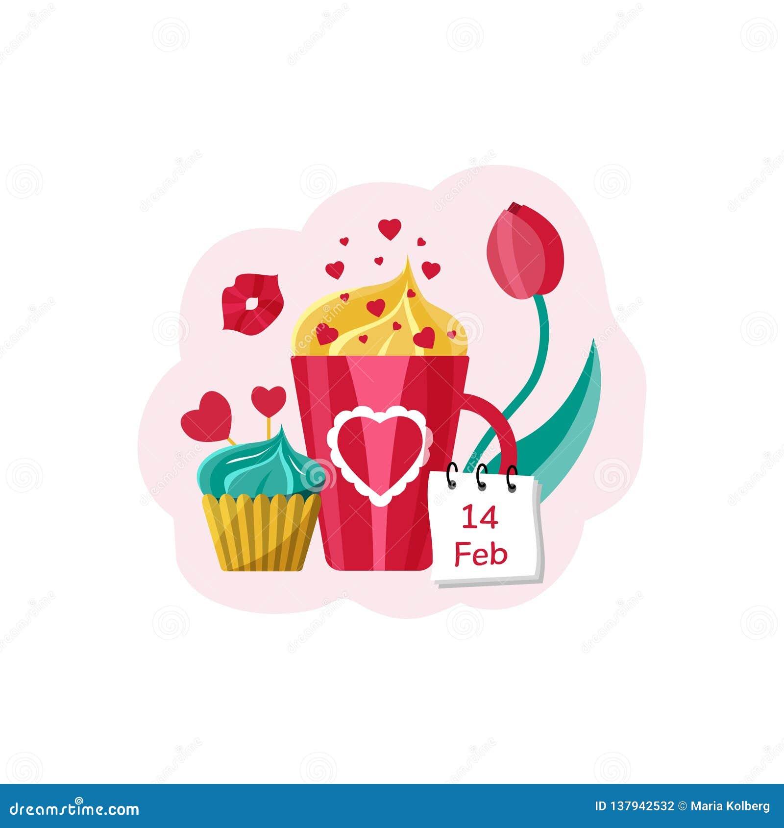 Tarjeta para el día del ` s de la tarjeta del día de San Valentín Taza con la bebida, la magdalena, los corazones y el tulipán Il