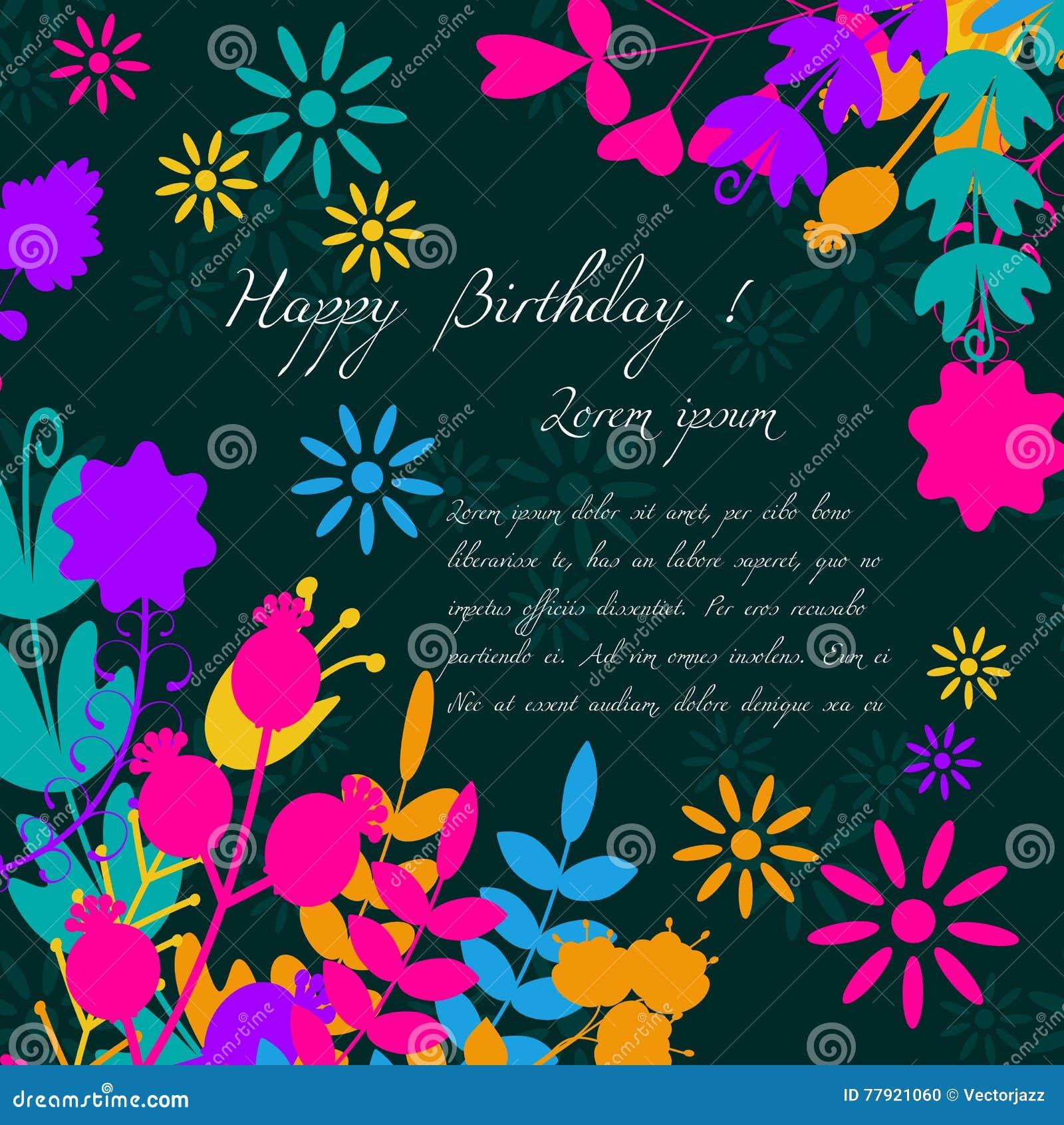 Tarjeta Para La Enhorabuena O La Invitación Feliz Cumpleaños