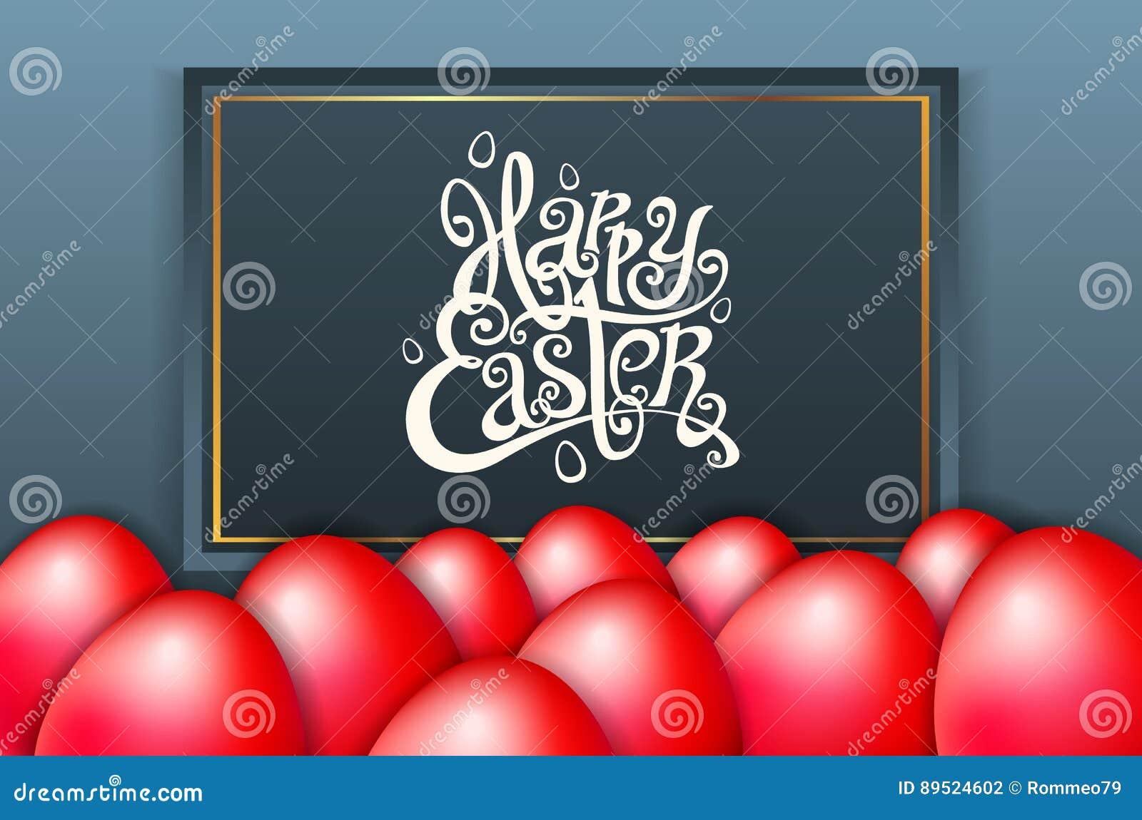 Tarjeta para la frase escrita mano de la enhorabuena Las plantillas del texto de la tarjeta de felicitación con rojo eggs el fond