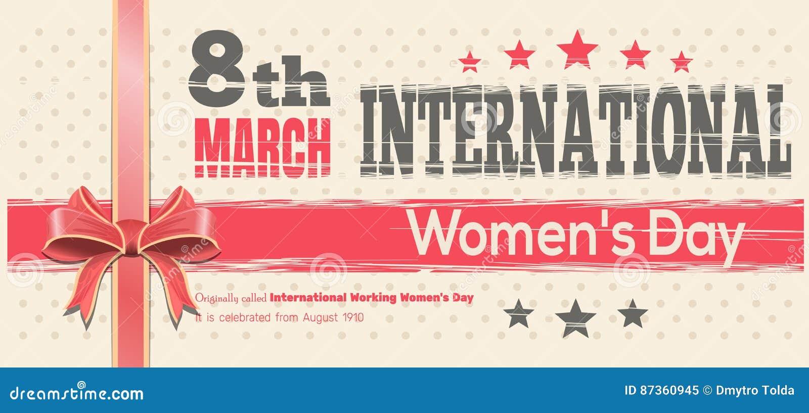 Tarjeta para mujer internacional del día Celebre el poder de mujeres el 8 de marzo