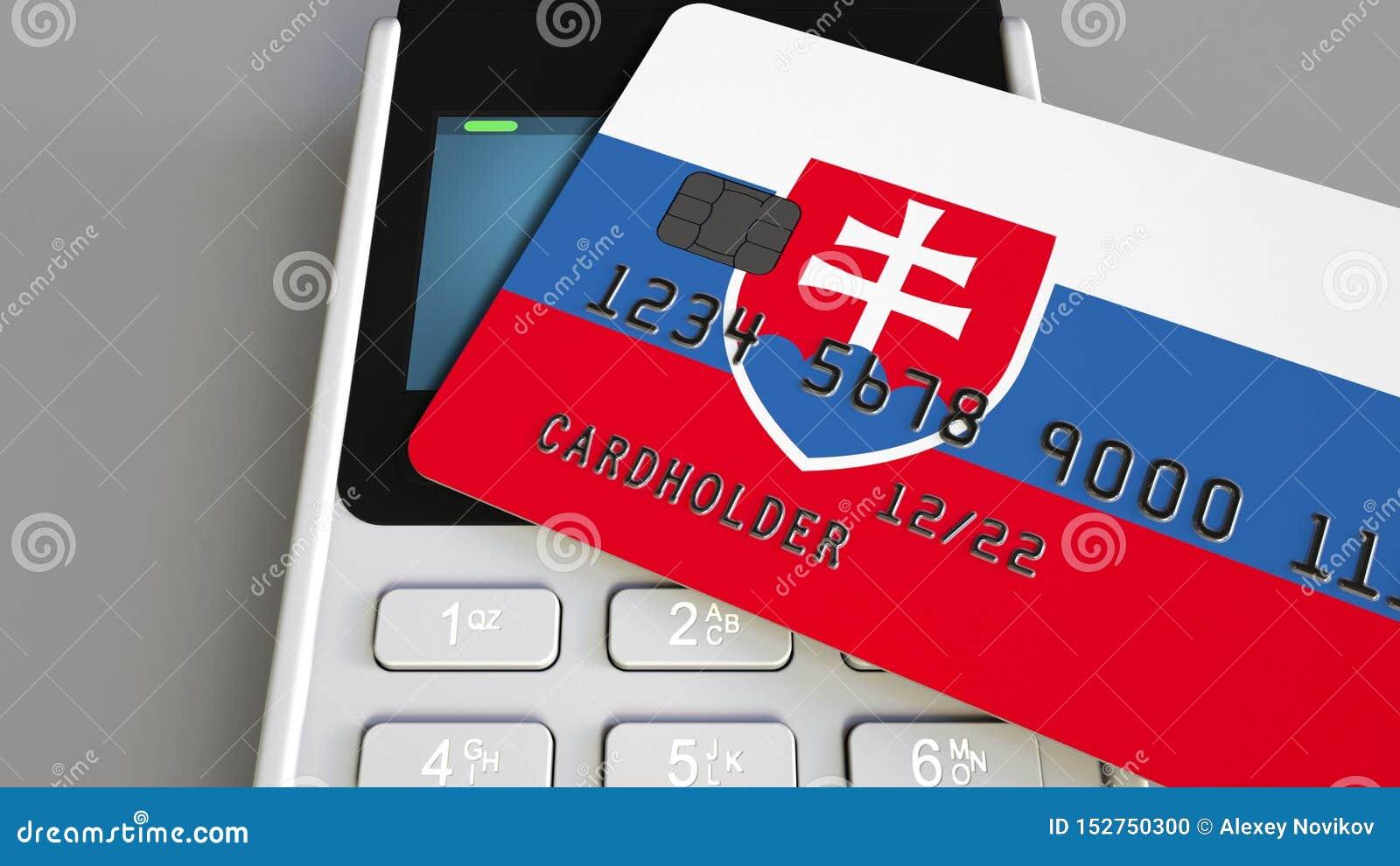 Tarjeta plástica que ofrece la bandera de Eslovaquia y del terminal del pago de la posición Sistema bancario eslovaco o represent