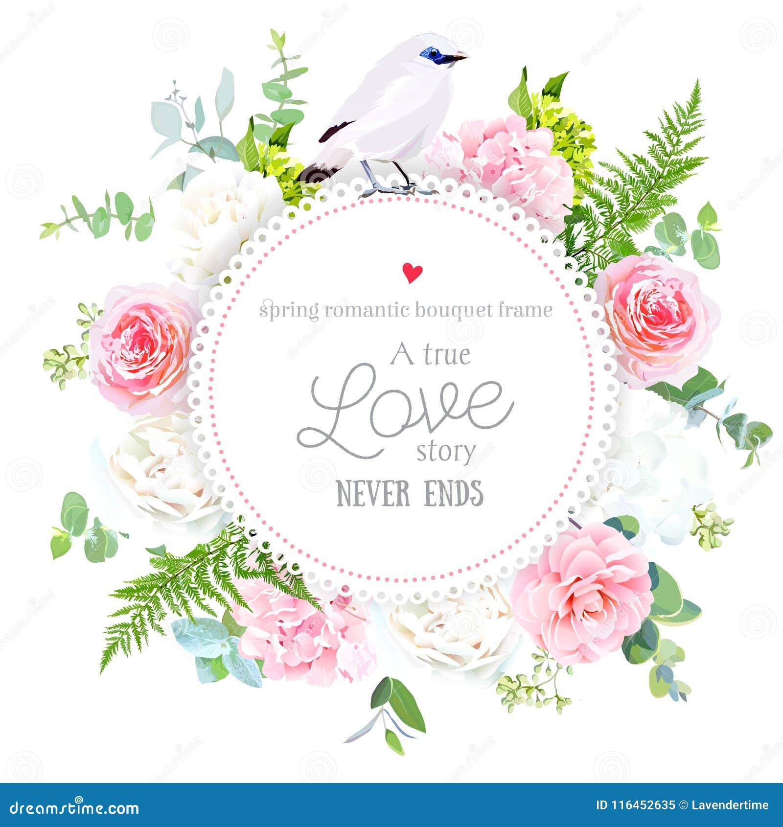Tarjeta redonda del vector floral elegante