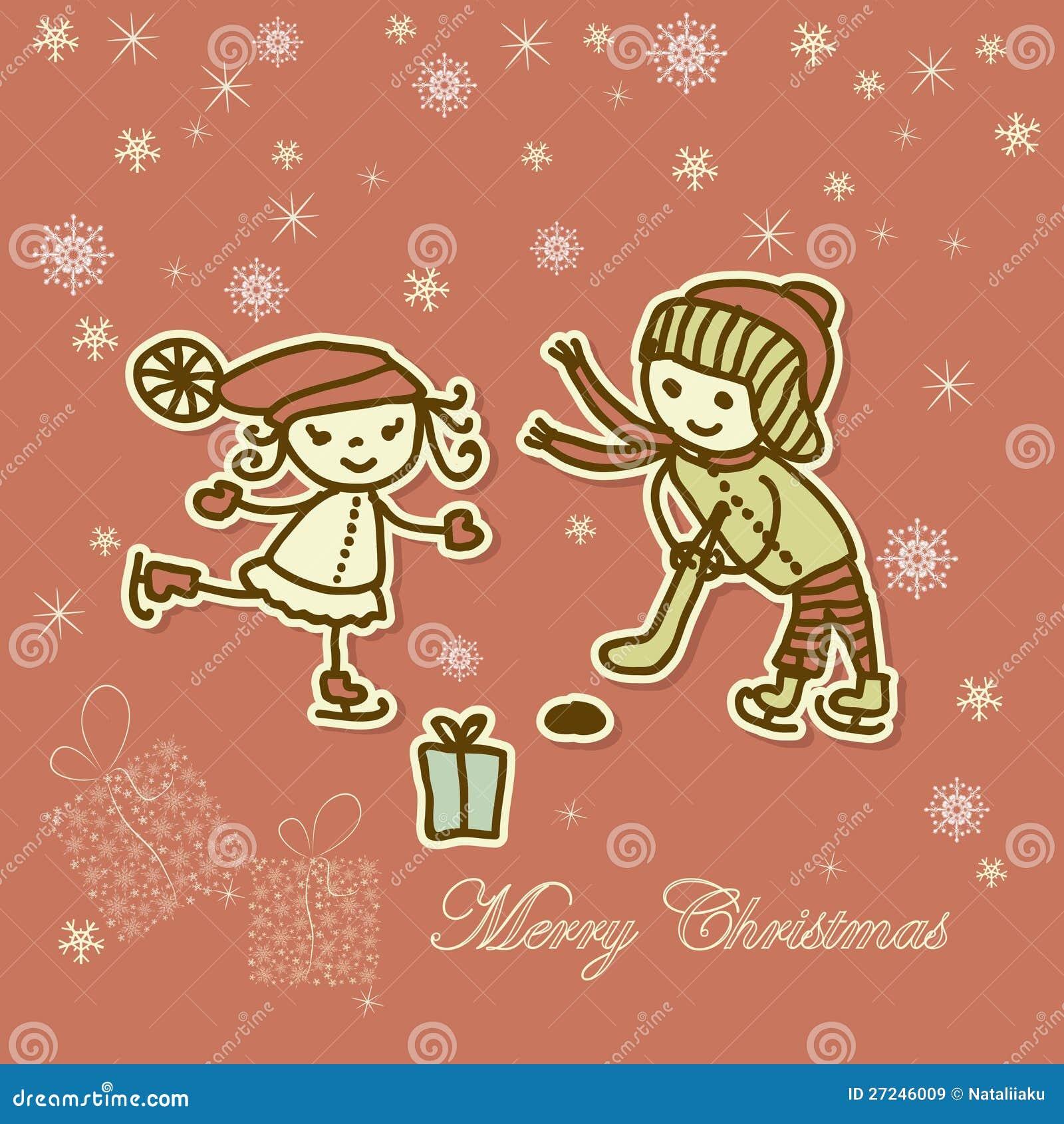 Tarjeta retra de navidad con jugar de los ni os im genes - Postales de navidad con fotos de ninos ...