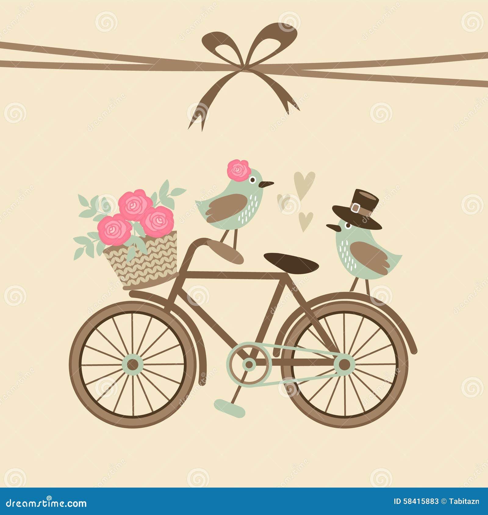 Tarjeta retra linda de la boda o de cumpleaños, invitación con la bicicleta, pájaros
