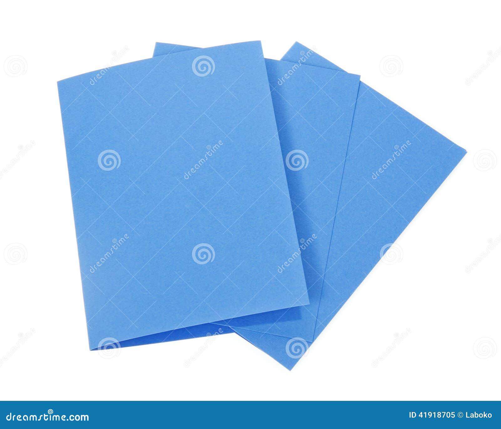 Tarjetas azules aisladas en blanco