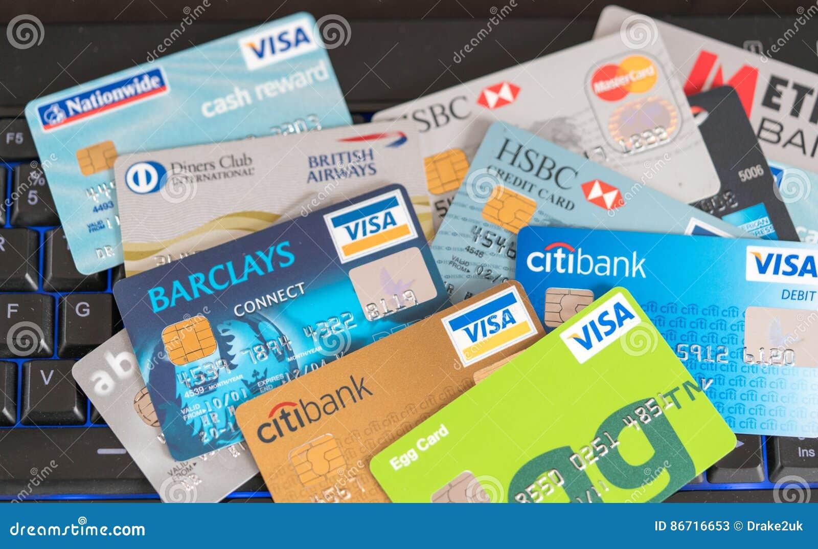 Tarjetas de crédito dispersadas
