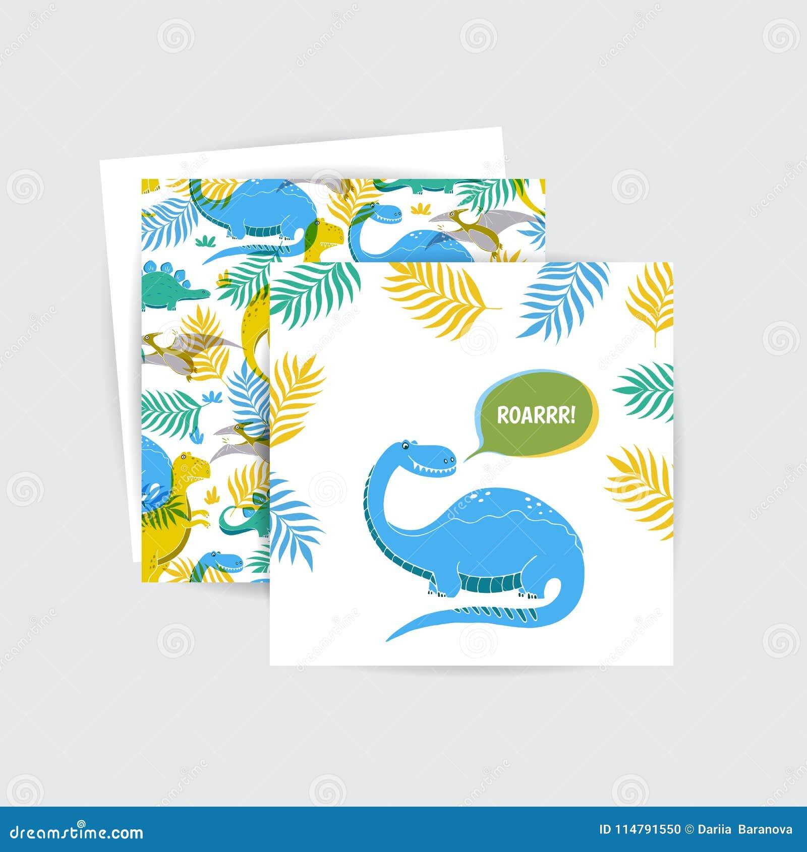 Tarjetas De Felicitación Con El Dinosaurio Ilustración Del