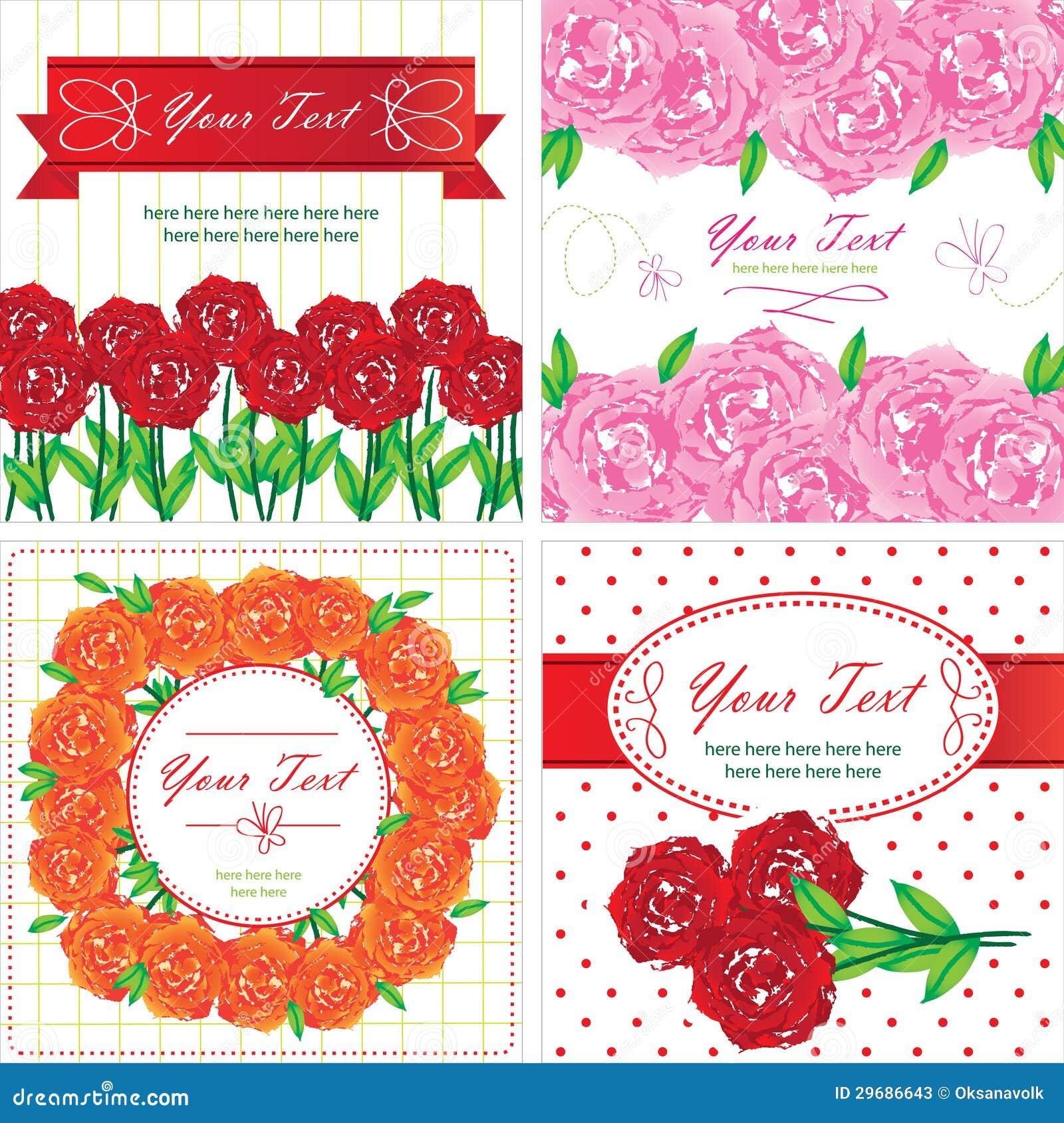 tarjetas de felicitaci u00f3n con las flores de las rosas