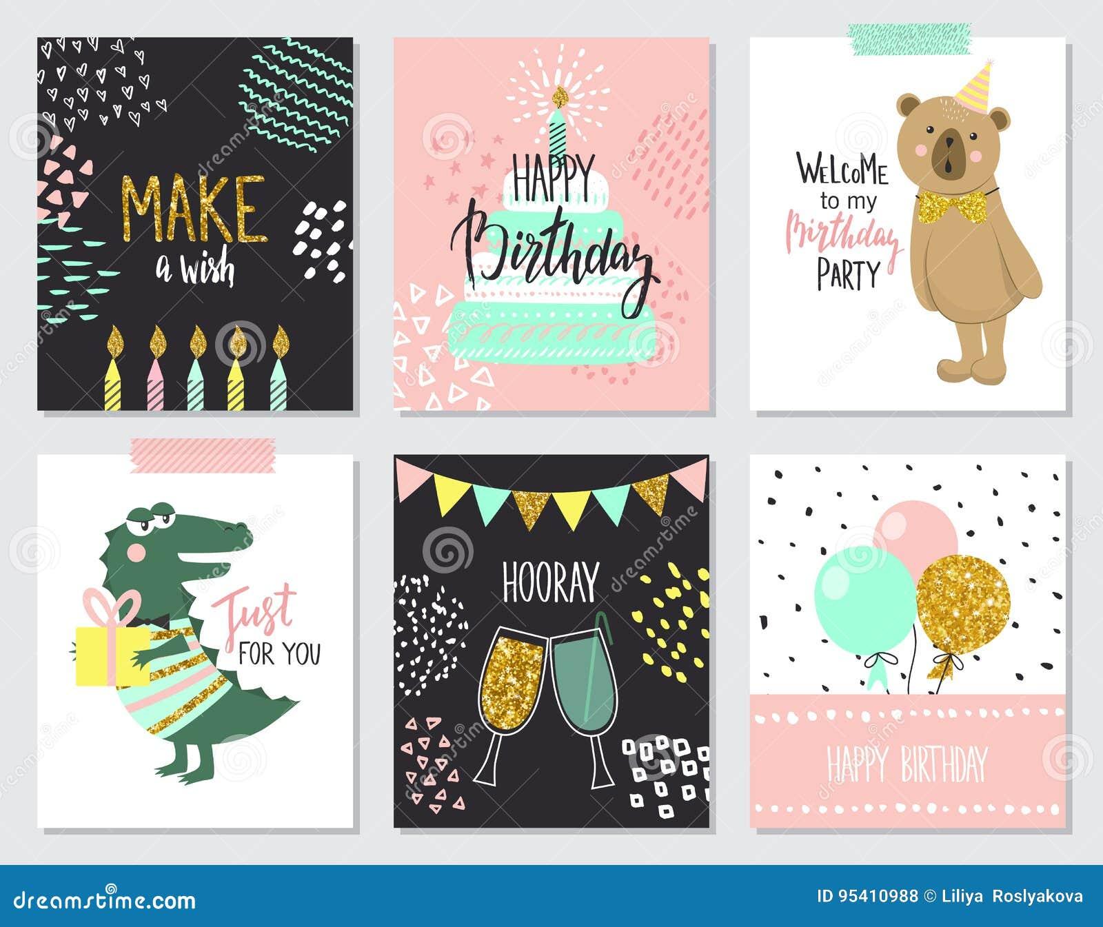 Tarjetas De Felicitación Del Feliz Cumpleaños Y Plantillas
