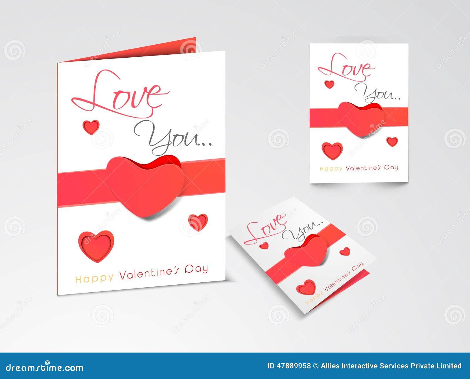Tarjetas de felicitación hermosas para la celebración feliz del día de tarjeta del día de San Valentín