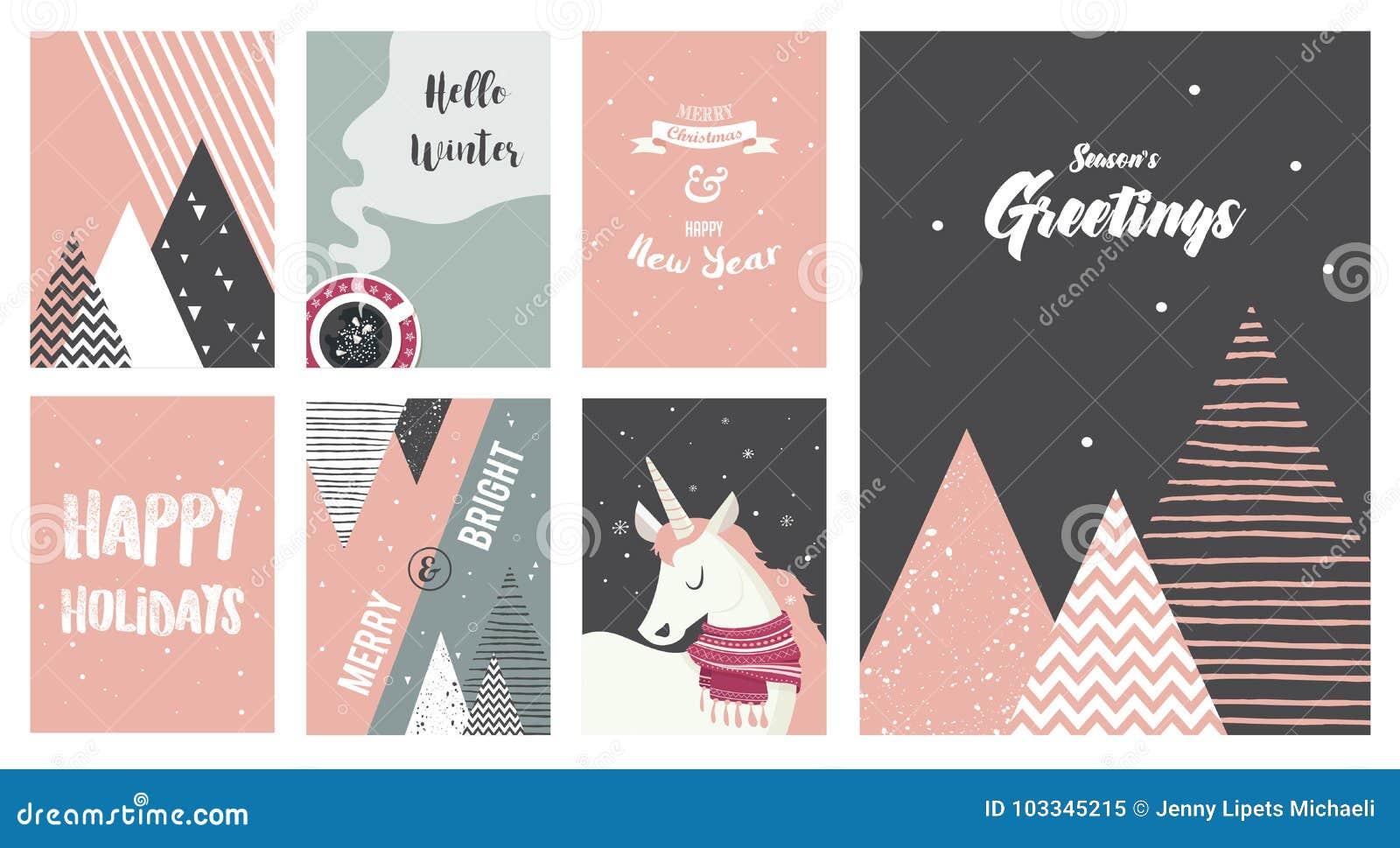 Tarjetas de la Feliz Navidad, ejemplos e iconos, colección del diseño de letras - ningunos 6