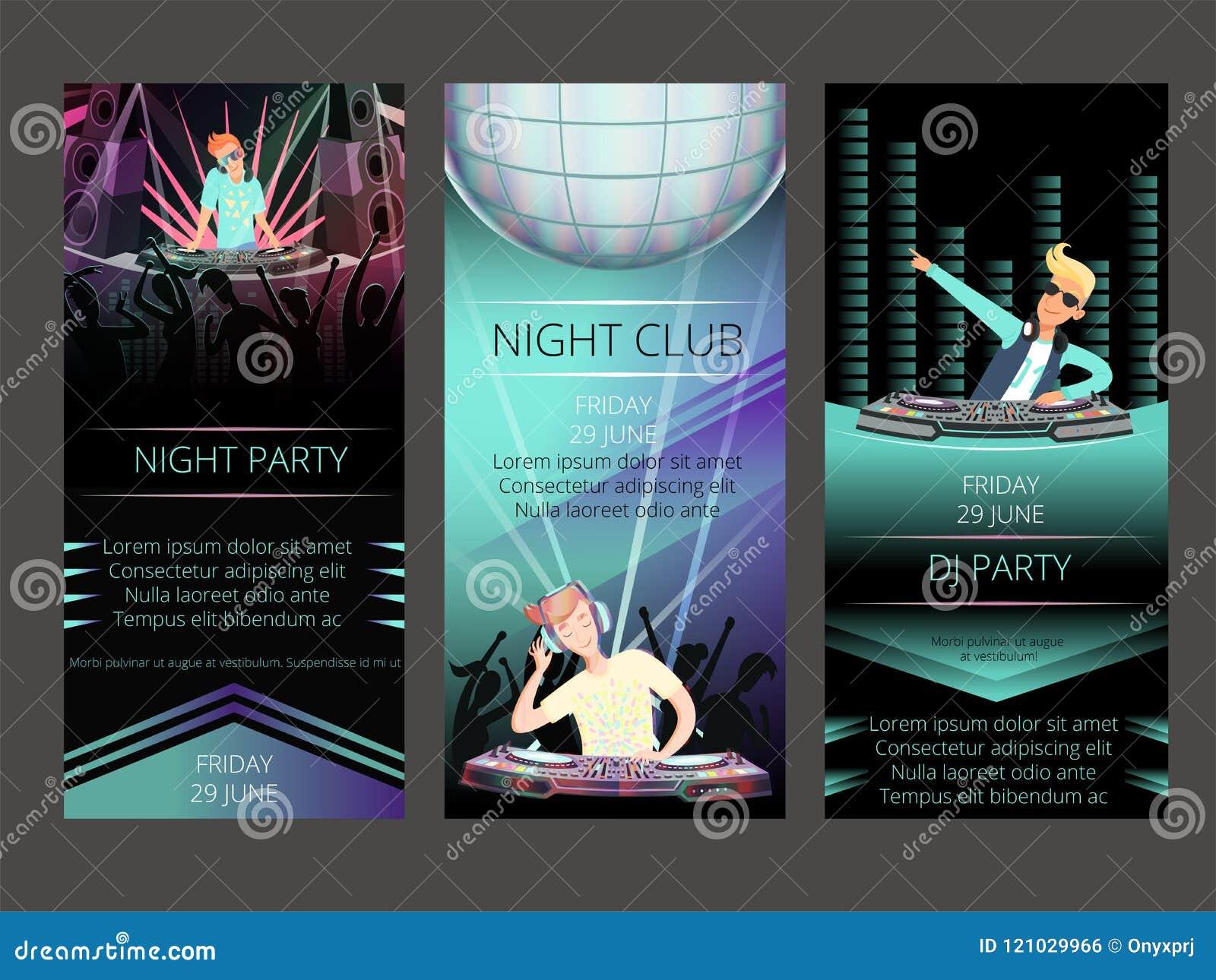 Tarjetas De La Invitación Del Club De Noche Dj Va De Fiesta